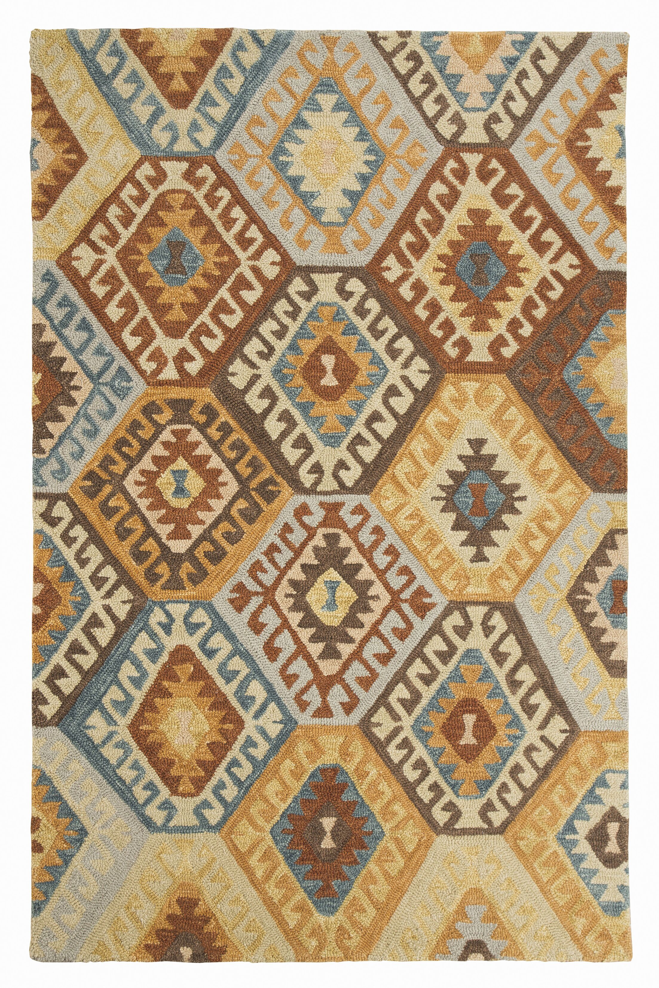 Pinchot Hand-Tufted Wool Blue/Brown Area Rug Rug Size: 5' x 8'