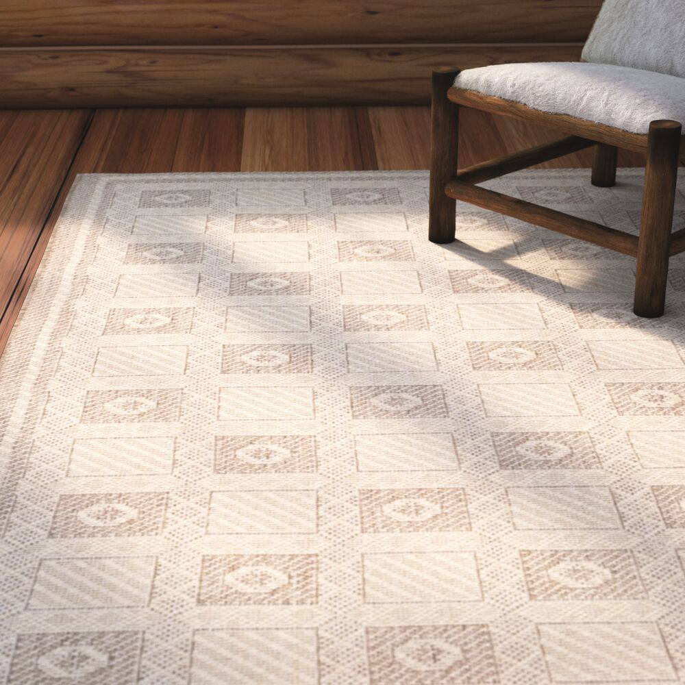 Grand Parquet Creme / Brown Area Rug Rug Size: Rectangle 5'3