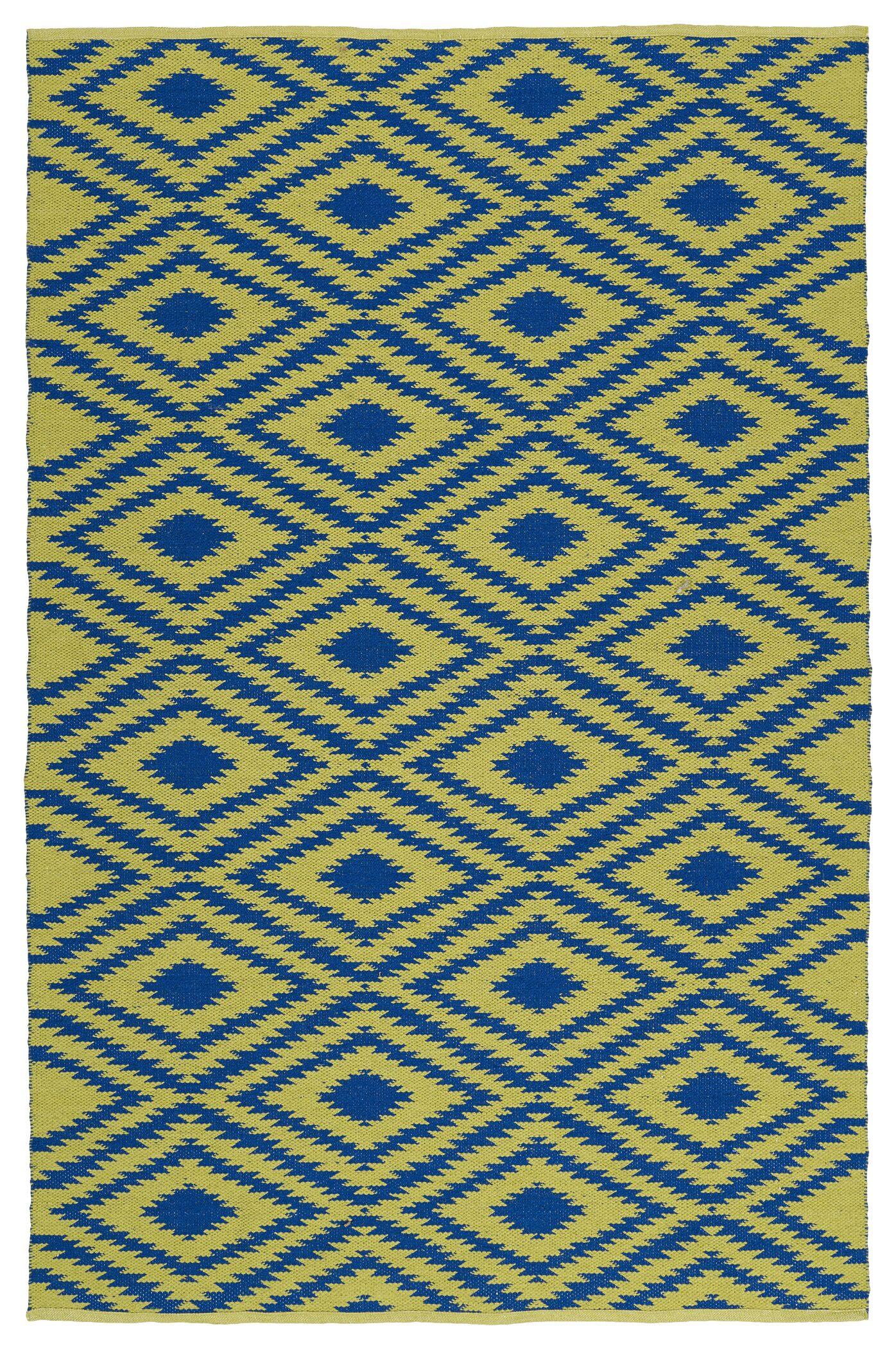 Greenfield Yellow/Navy Indoor/Outdoor Area Rug Rug Size: Rectangle 9' x 12'
