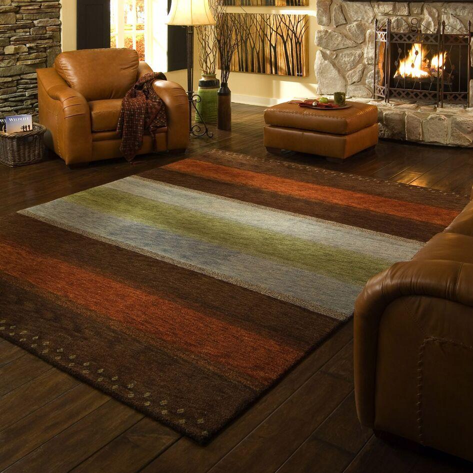 Havsa Desert Gabbeh Hand-Knotted Brown/Orange/Gold Area Rug Rug Size: Rectangle 9'6