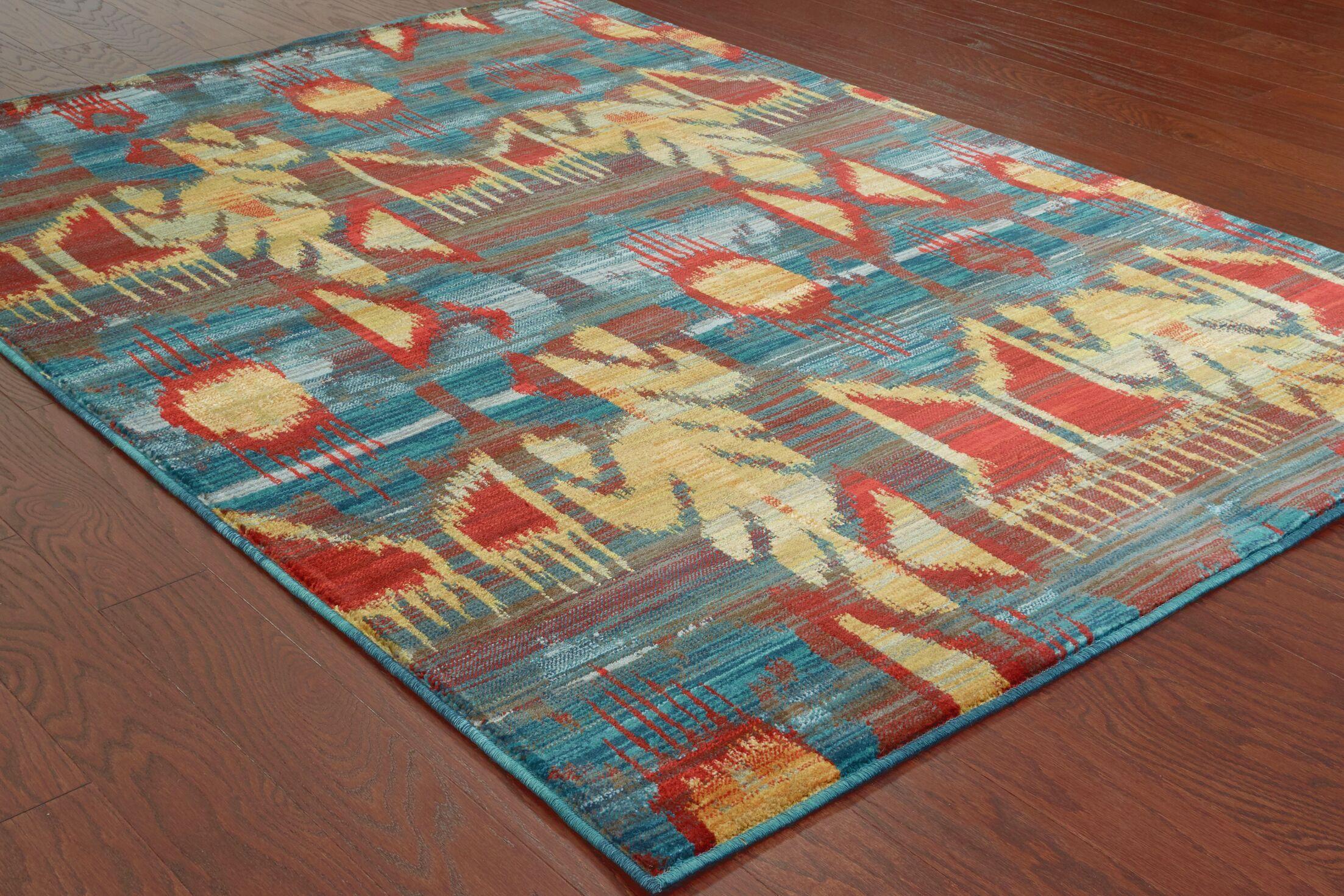 Honaz Tribal Grey/Blue Area Rug Rug Size: Rectangle 7'10