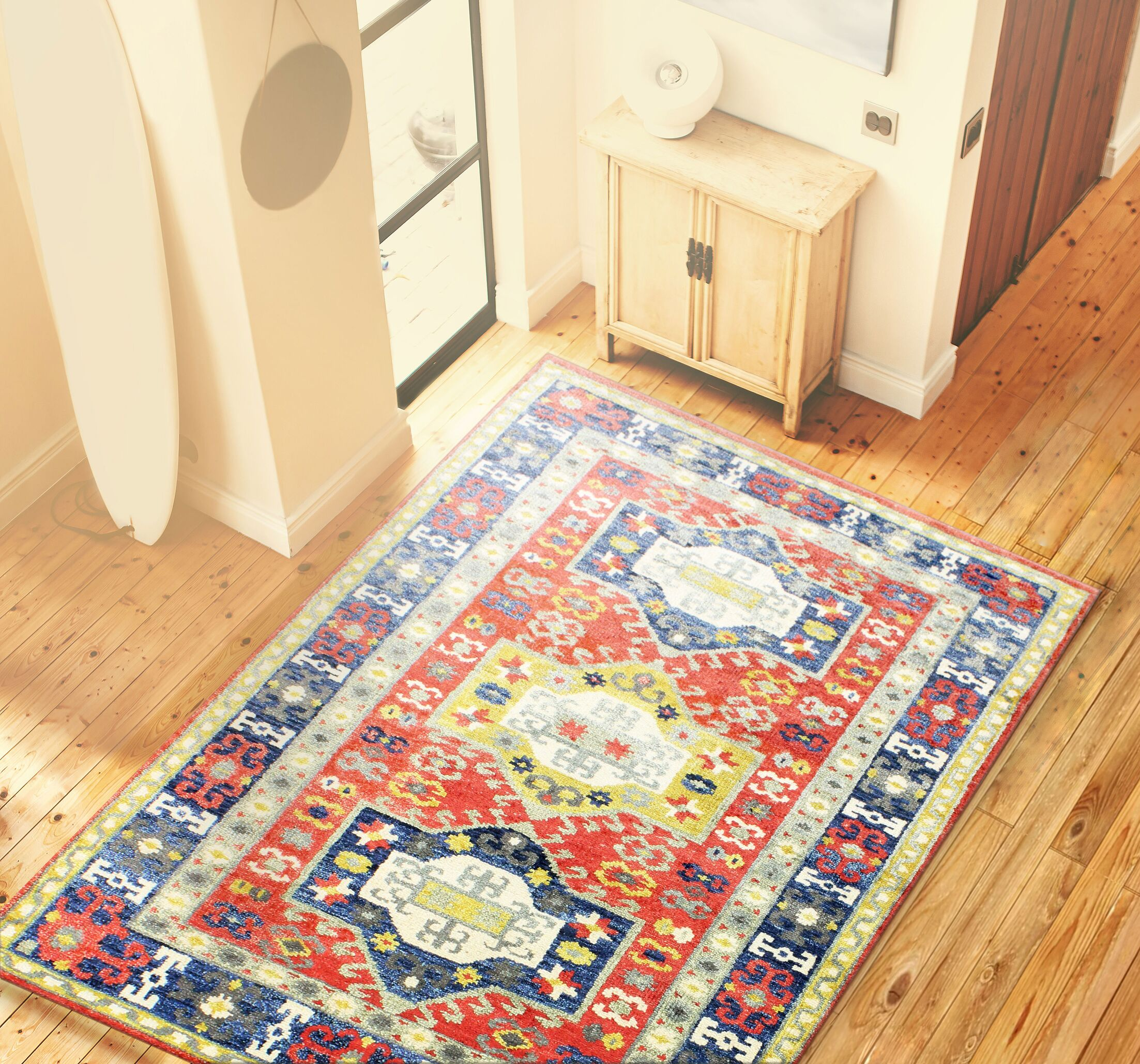 Martinez Hand-Knotted Rust Area Rug Rug Size: 7'6