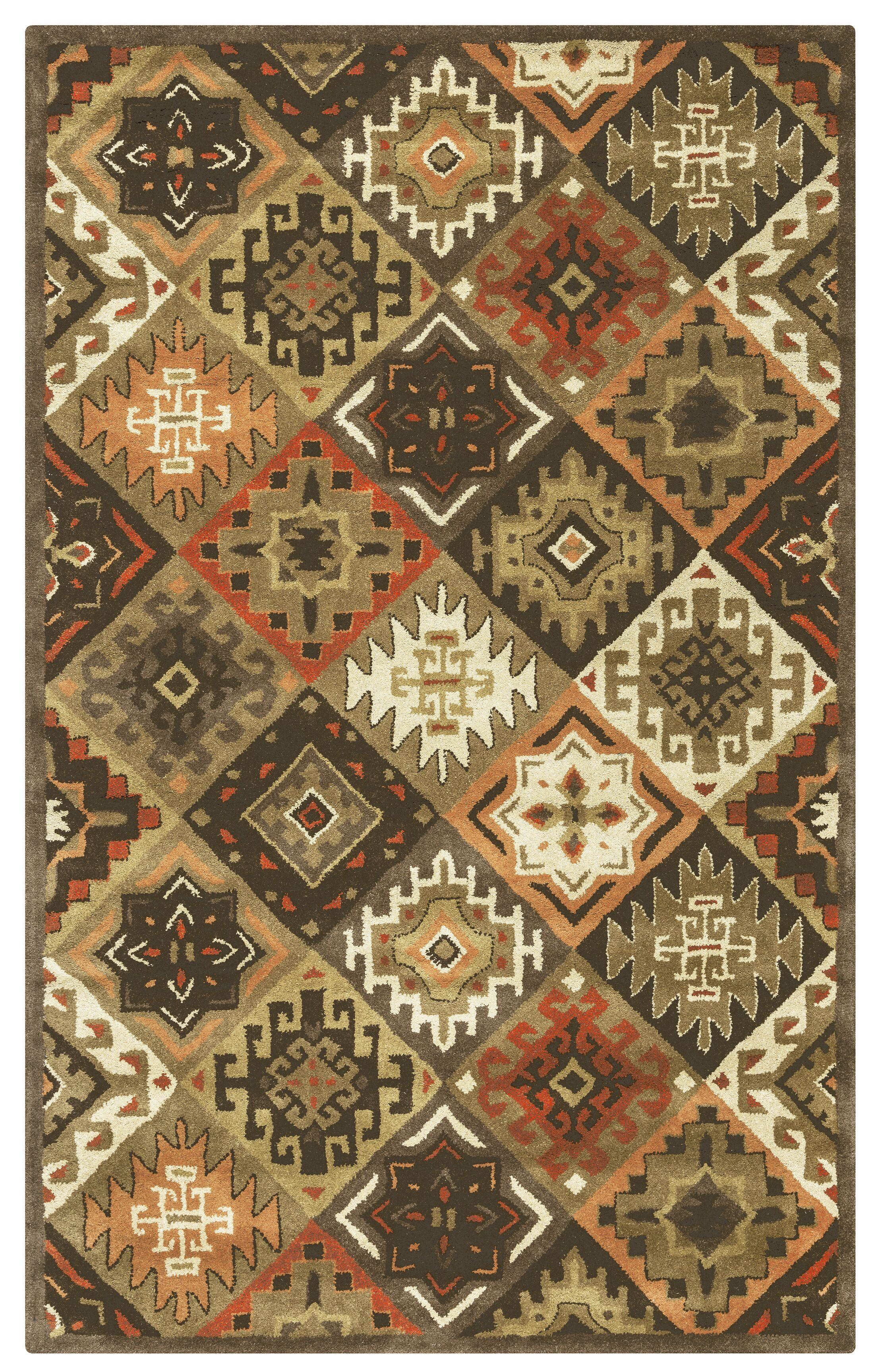 Delavan Hand-Tufted Brown Area Rug Rug Size: Rectangle 9' x 12'