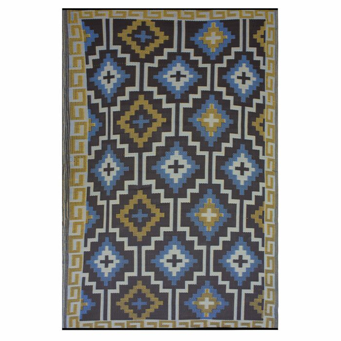 Patterson Royal Blue/Chocolate Brown Indoor/Outdoor Area Rug Rug Size: Rectangle 5' x 8'