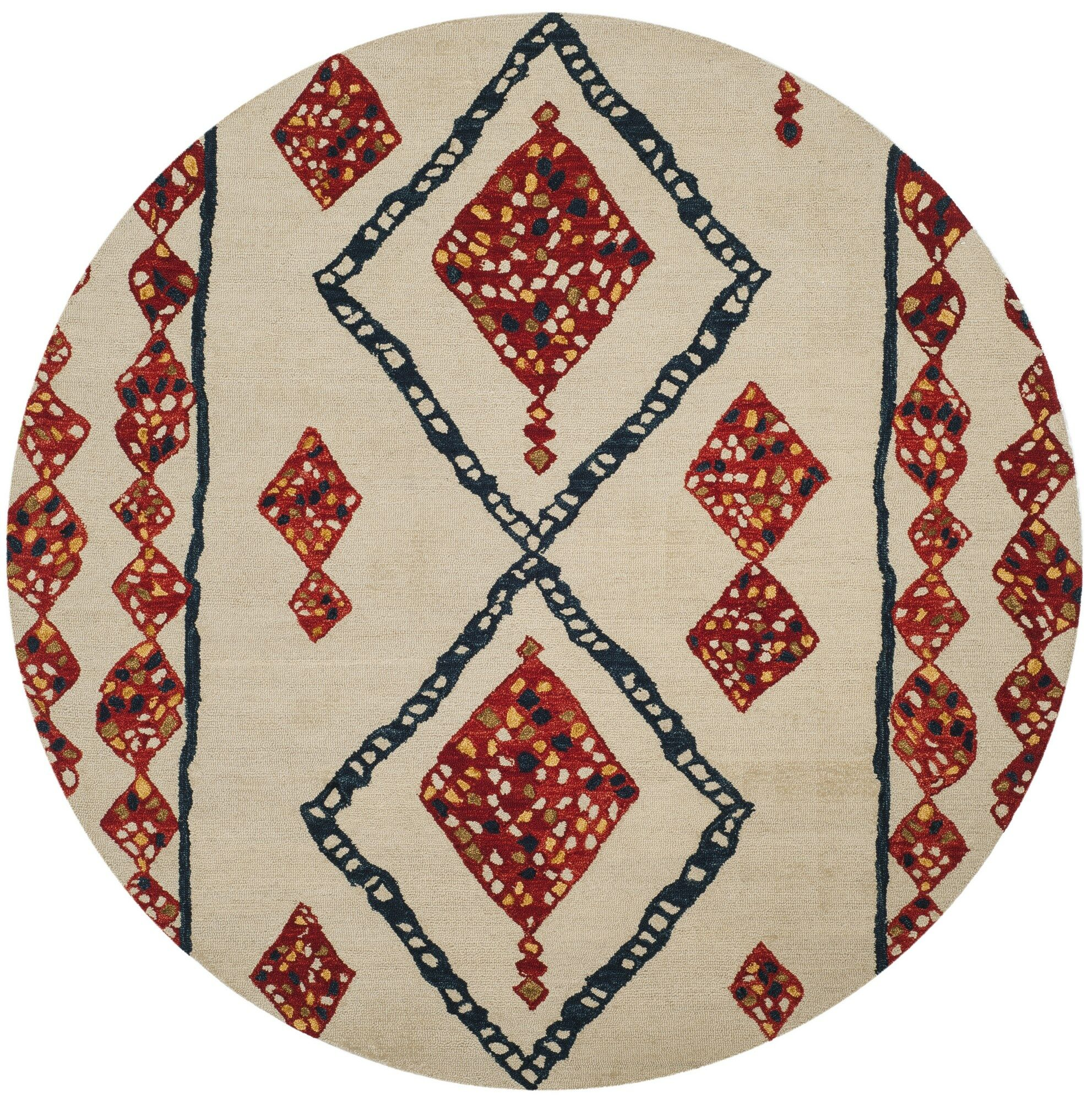 Aldwich Hand-Tufted Beige/Red Area Rug Rug Size: Round 7'