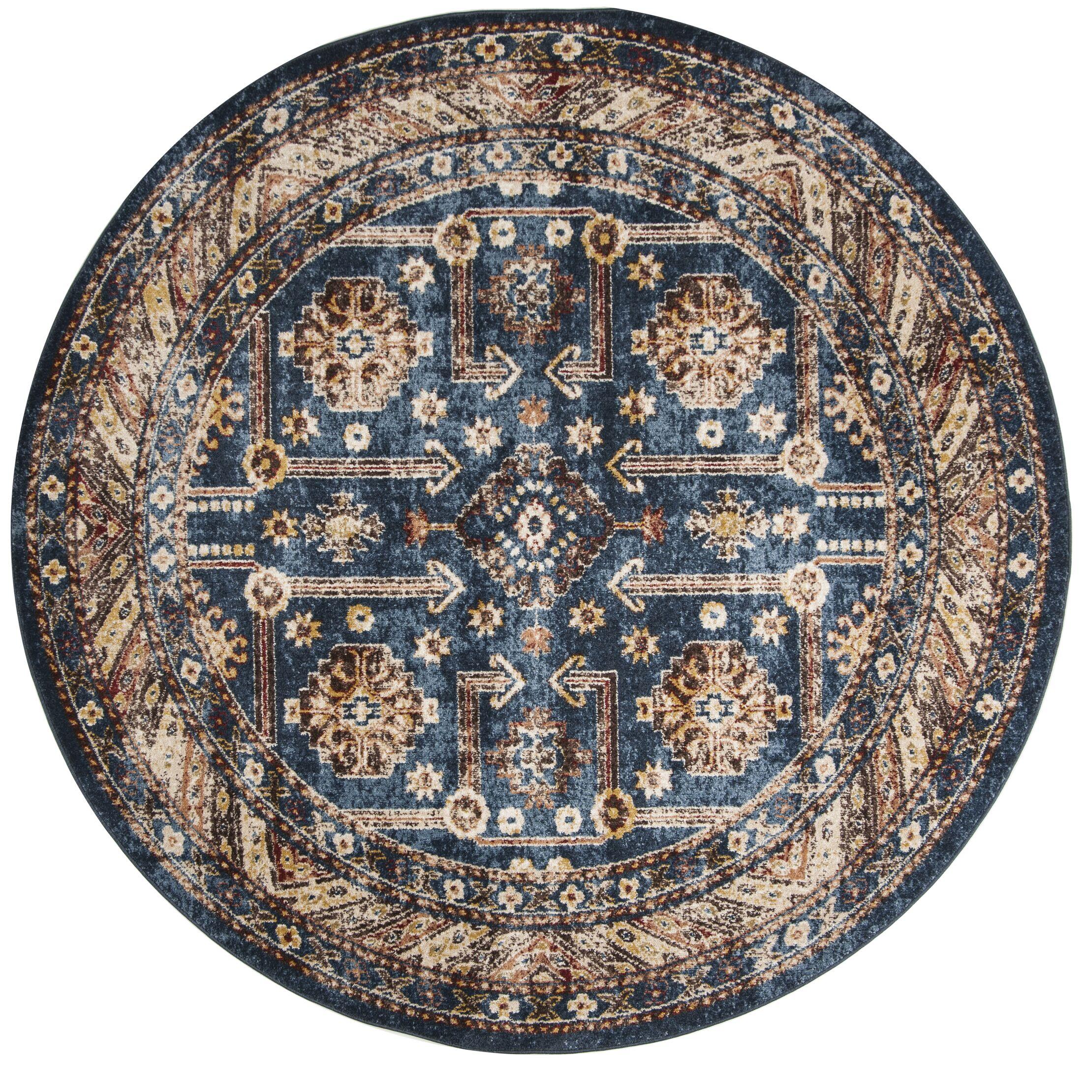 Isanotski Brown/Blue Area Rug Rug Size: Round 6'7