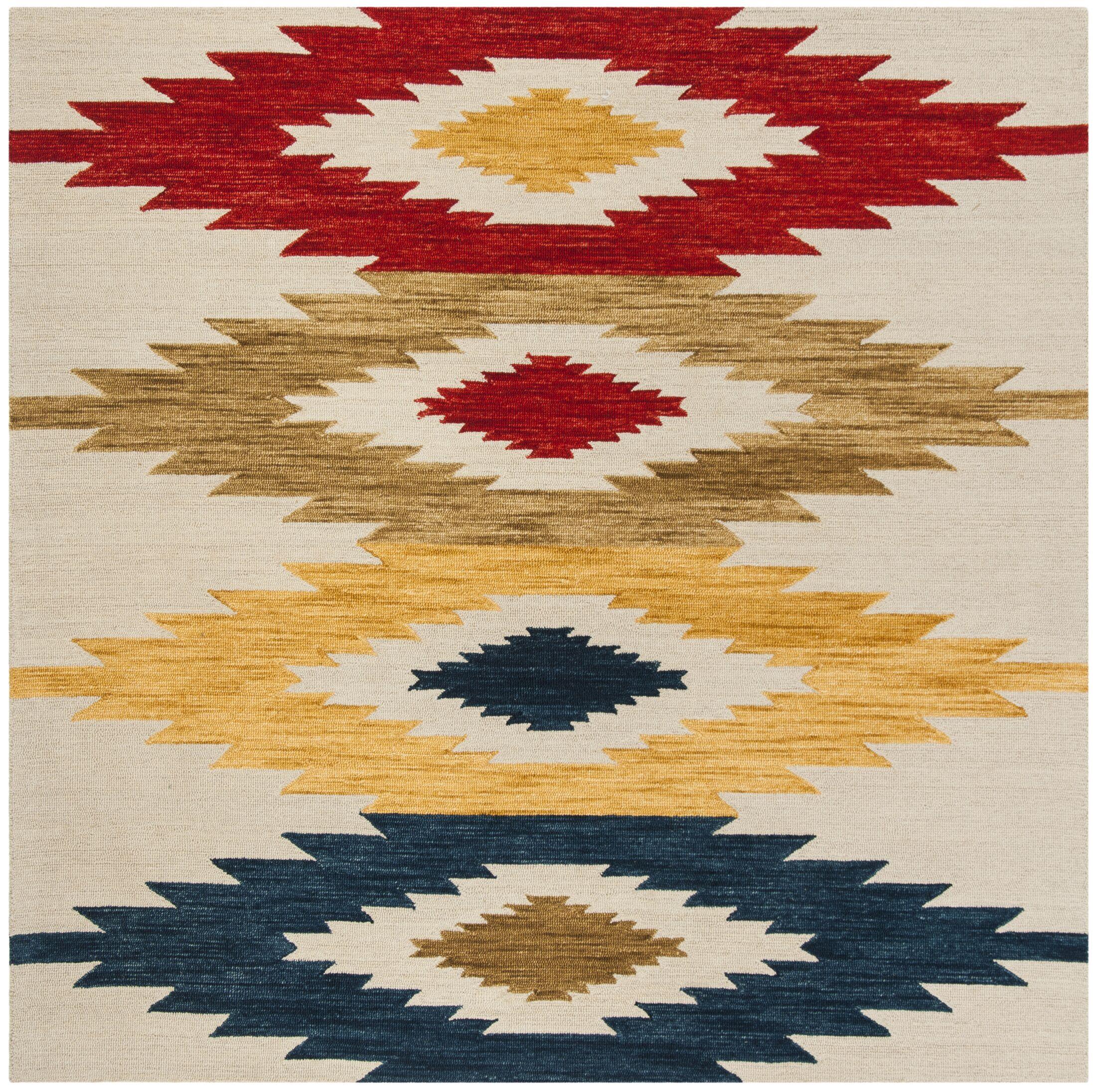 Aldwich Hand-Tufted Multi-Color Area Rug Rug Size: Square 7'