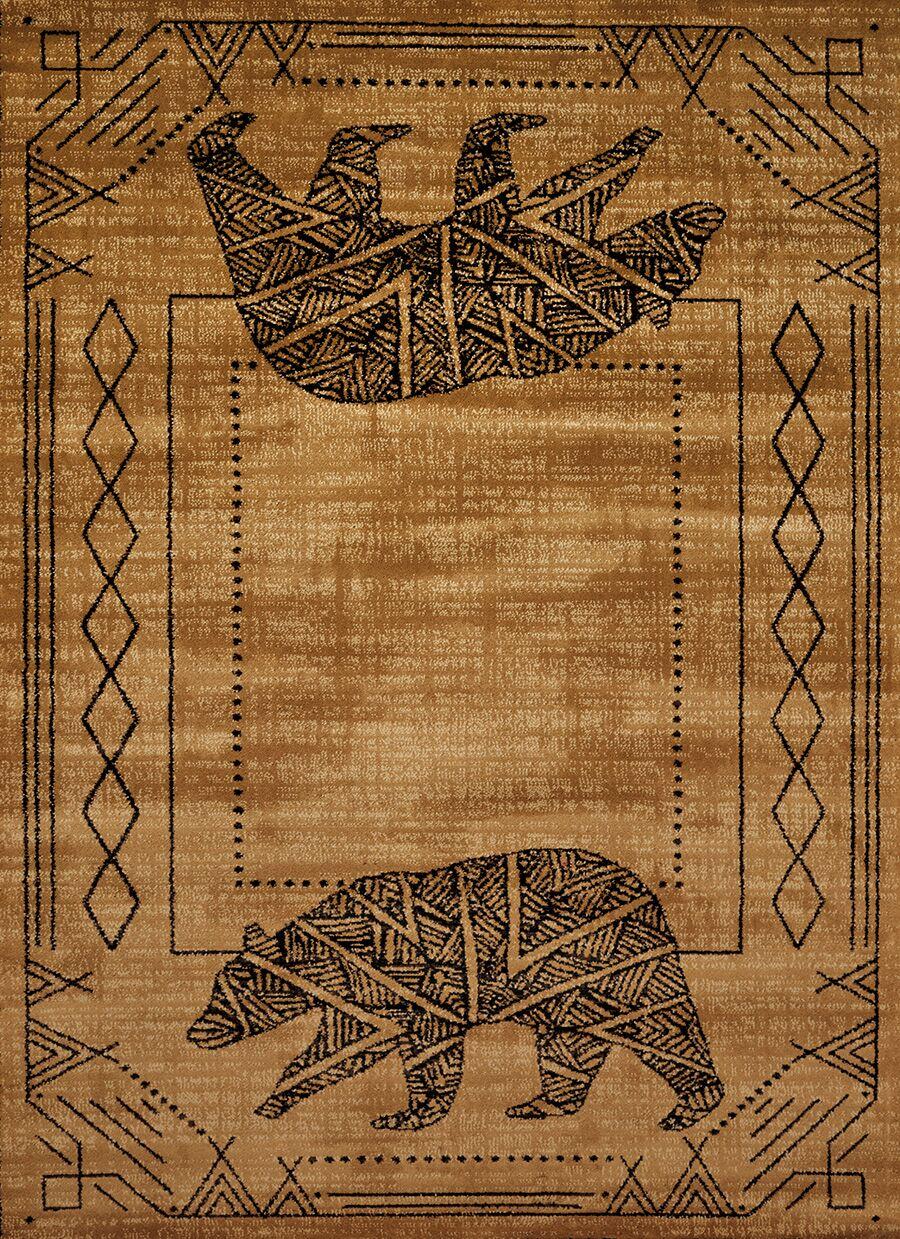 Sayre Gold/Black Area Rug Rug Size: Rectangle 5'3
