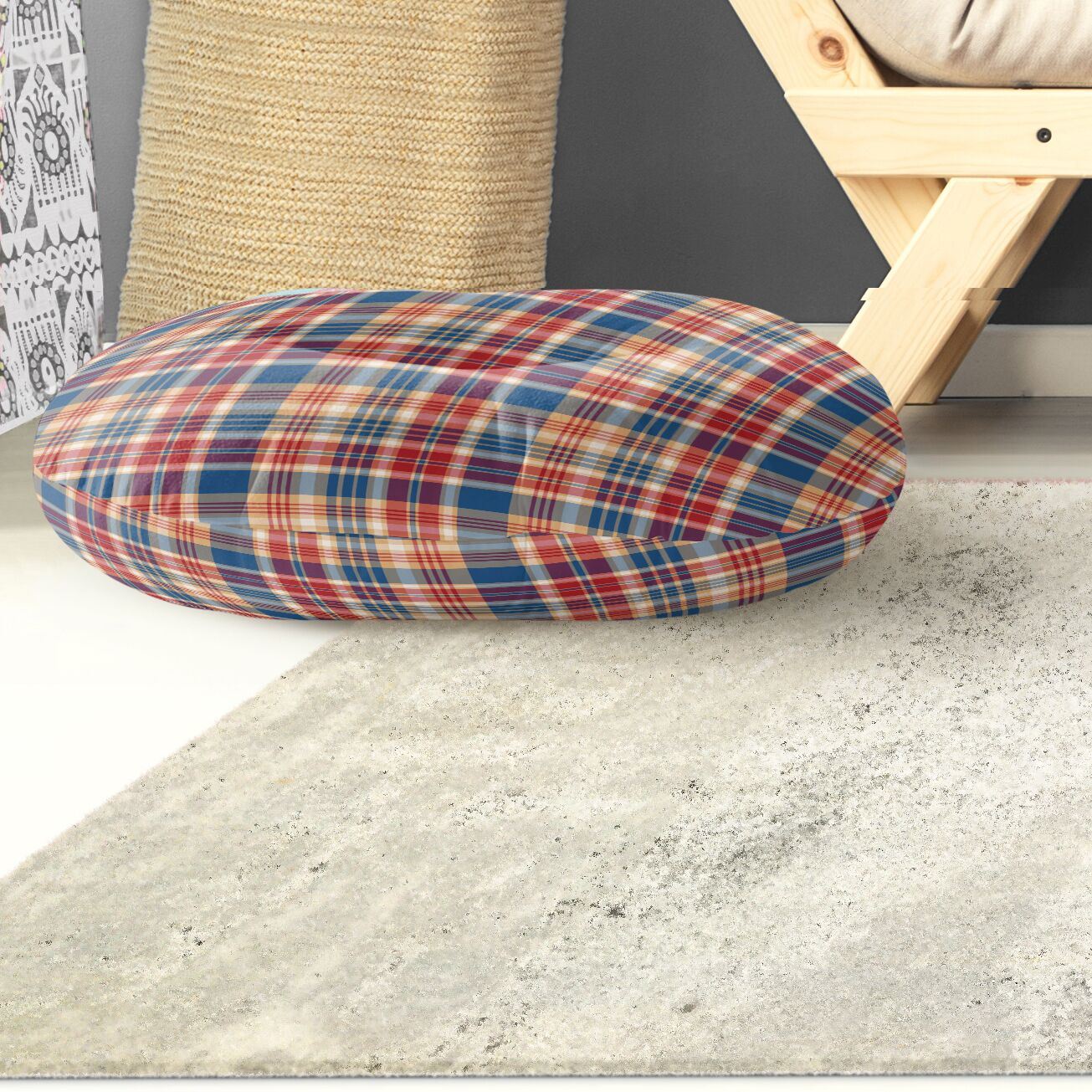 Hogan Plaid Indoor/Outdoor Floor Pillow Size: 26