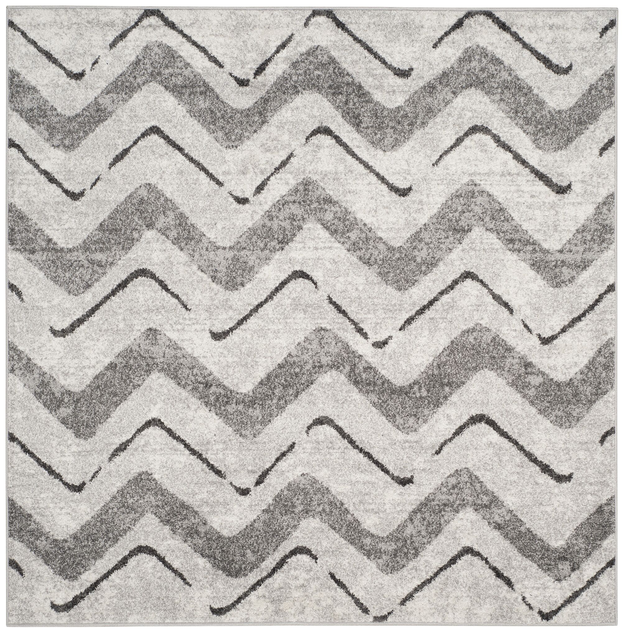 St. Ann Highlands Silver/Charcoal Area Rug Rug Size: Square 6'