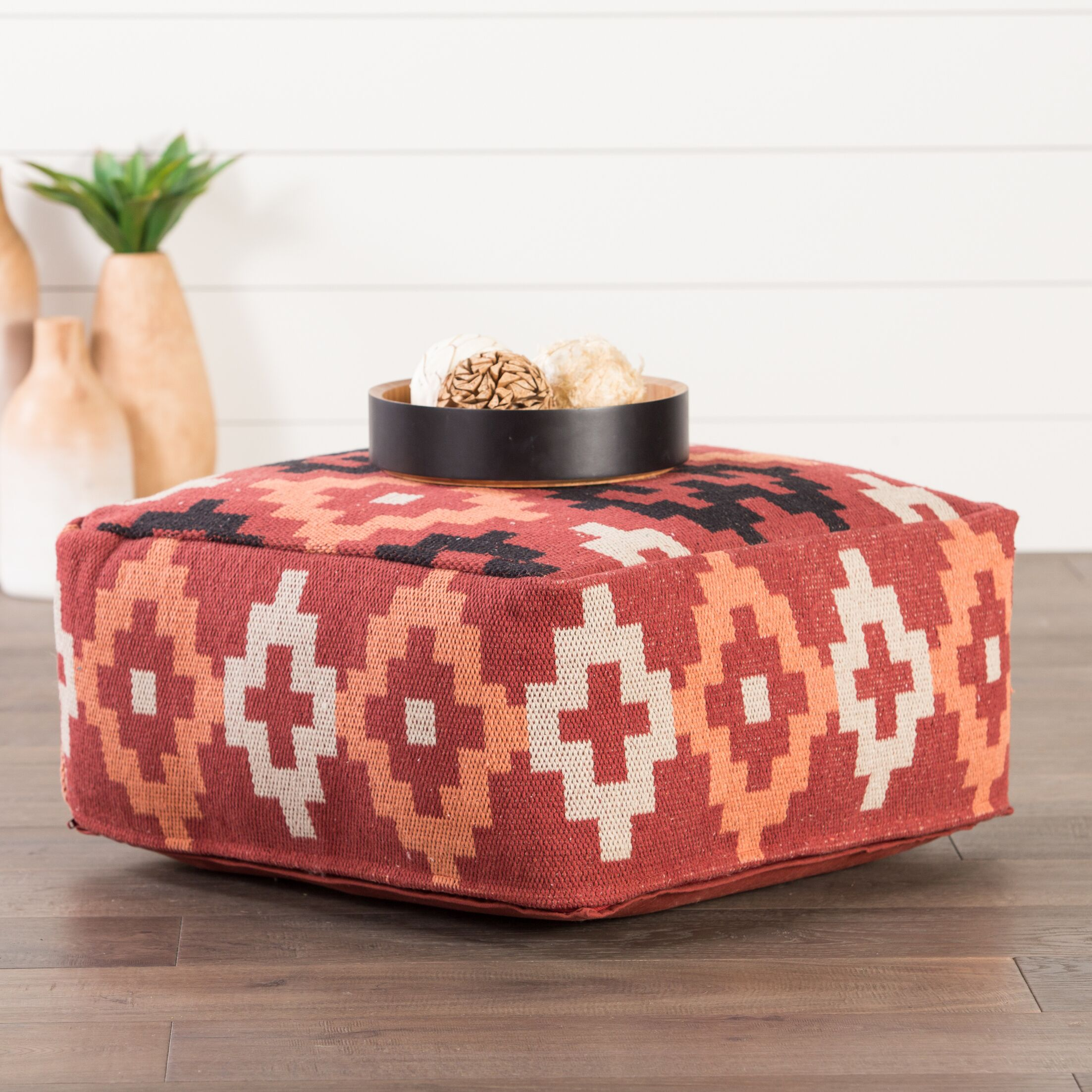 Bourgoin Pouf Upholstery: Red/Multi