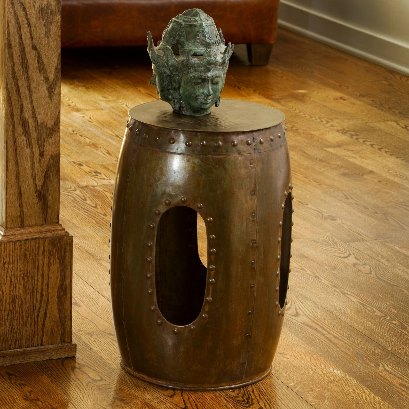 Curlew Industrial Barrel Stool End Table Color: Copper