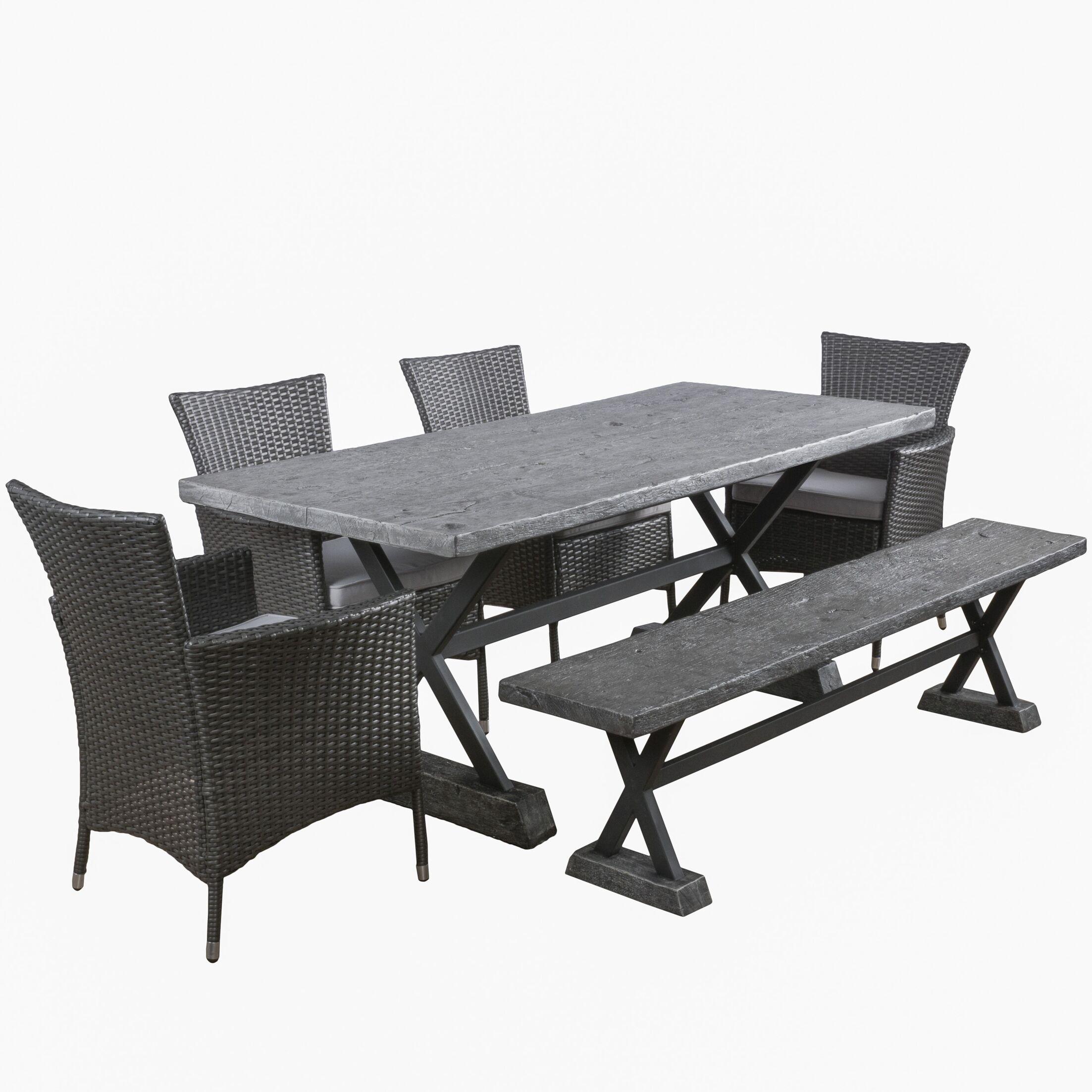 Blagnac 6 Piece Dining Set with Cushions Finish: Grey