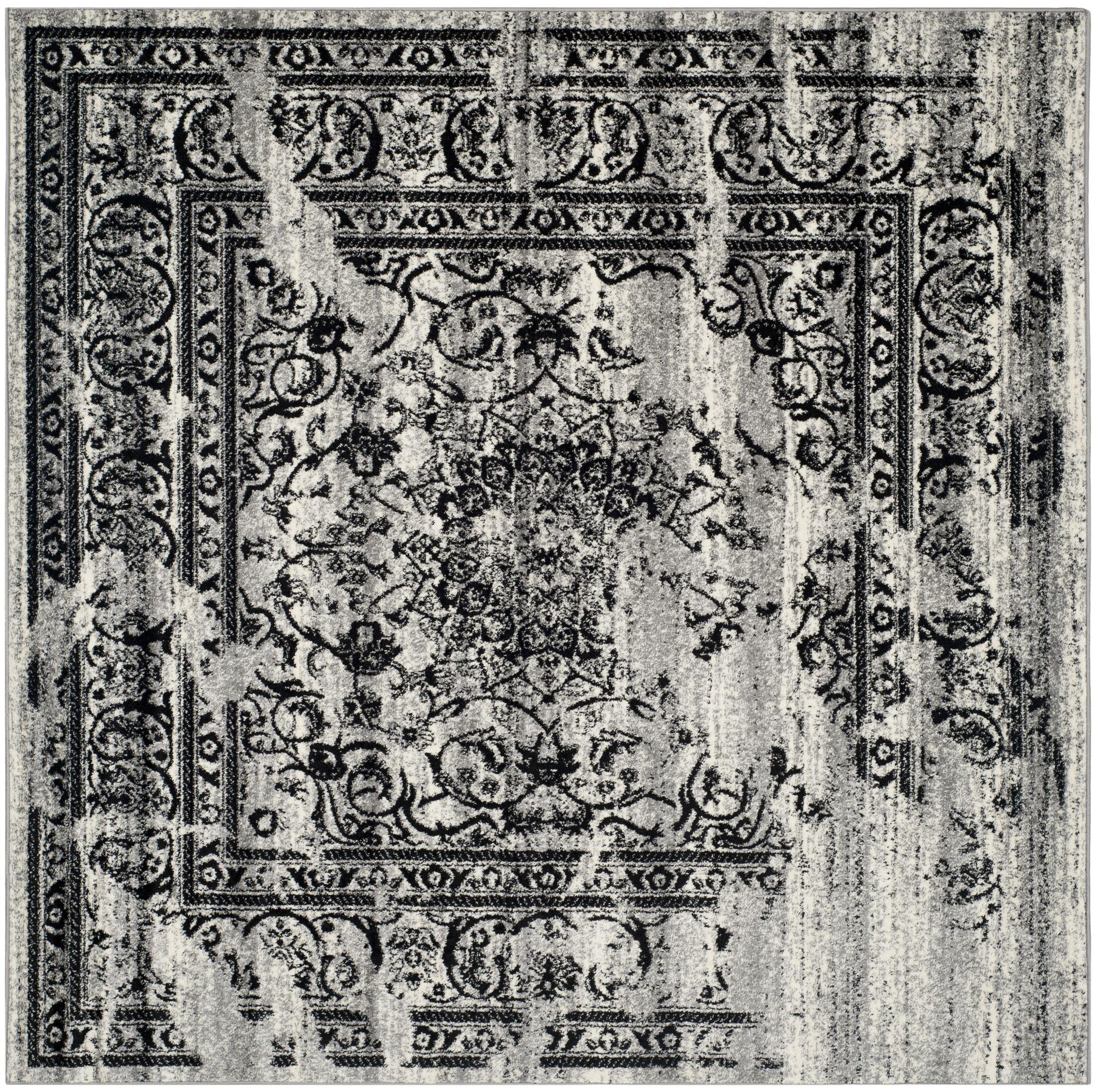 Mccree Mesa Silver/Black Area Rug Rug Size: Square 10'
