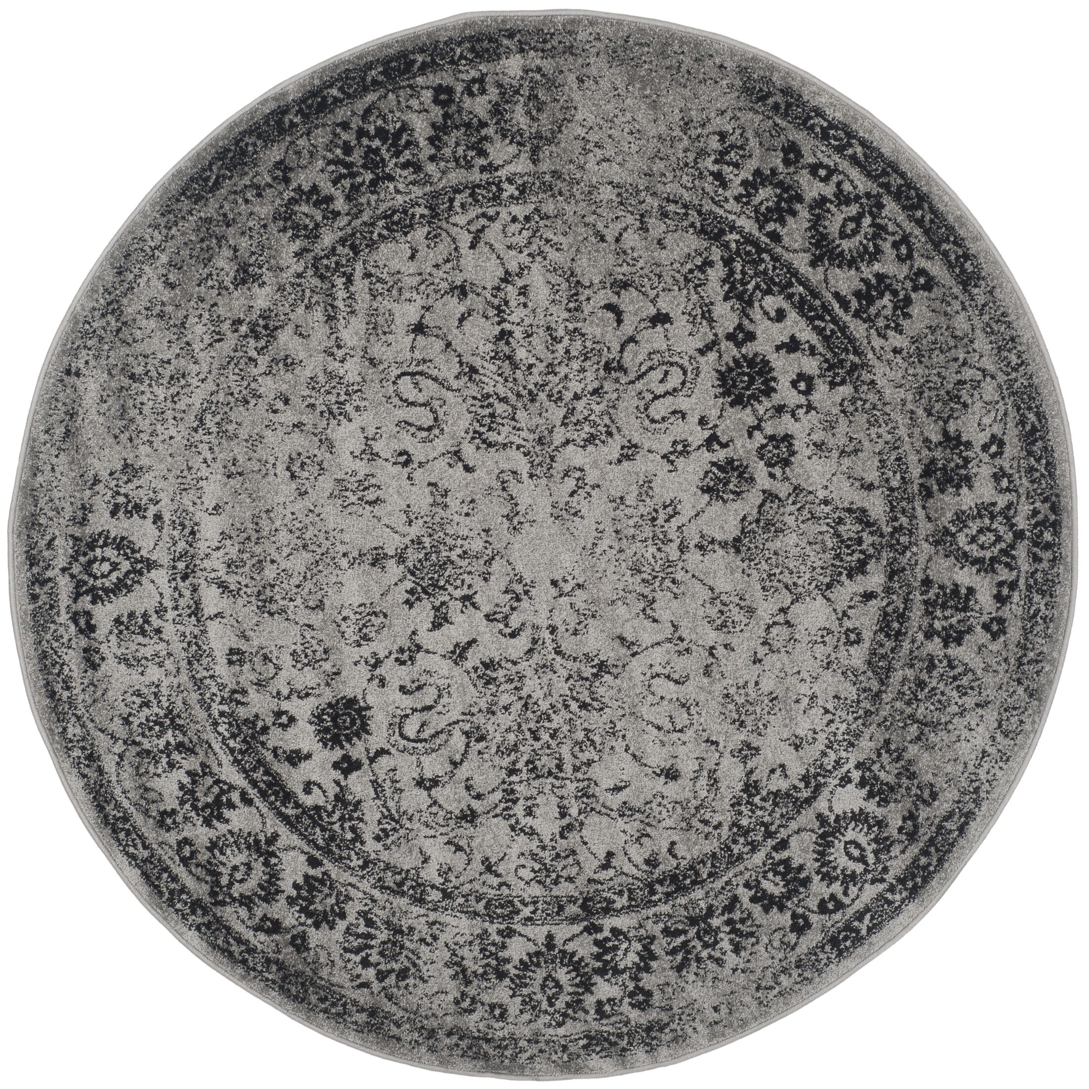 Howser Gray/Black Area Rug Rug Size: Round 10'