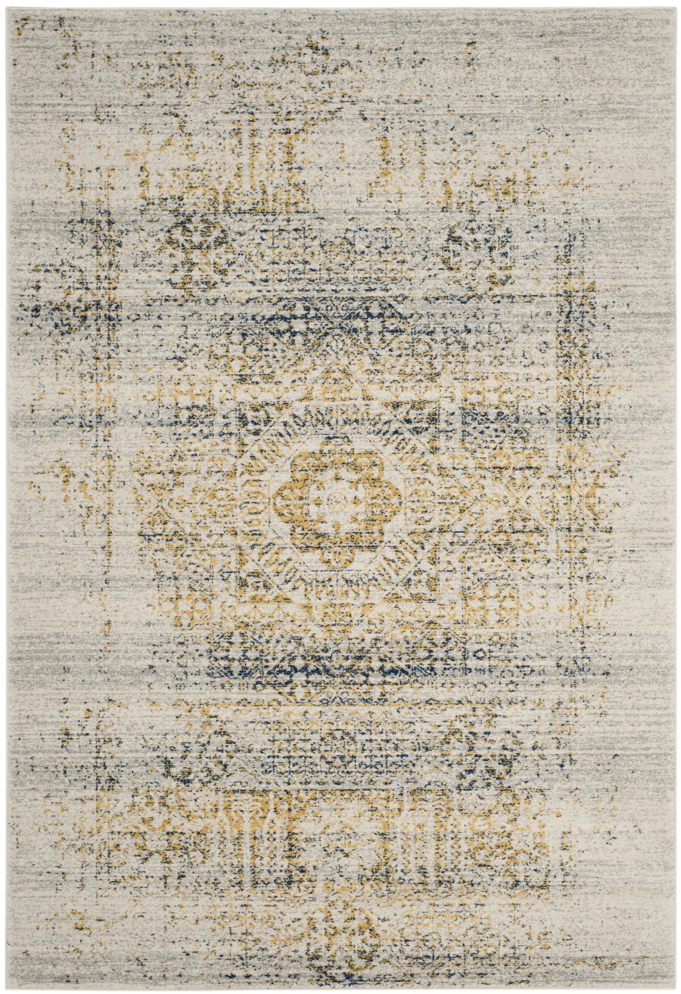 Mccranie Ivory/Blue Area Rug Rug Size: Square 6'7