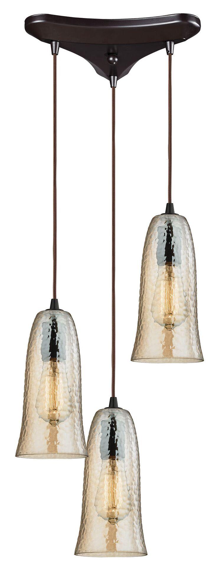 Esteban 3-Light Glass Cascade Pendant Finish: Satin Nickel, Shade Color: Aqua