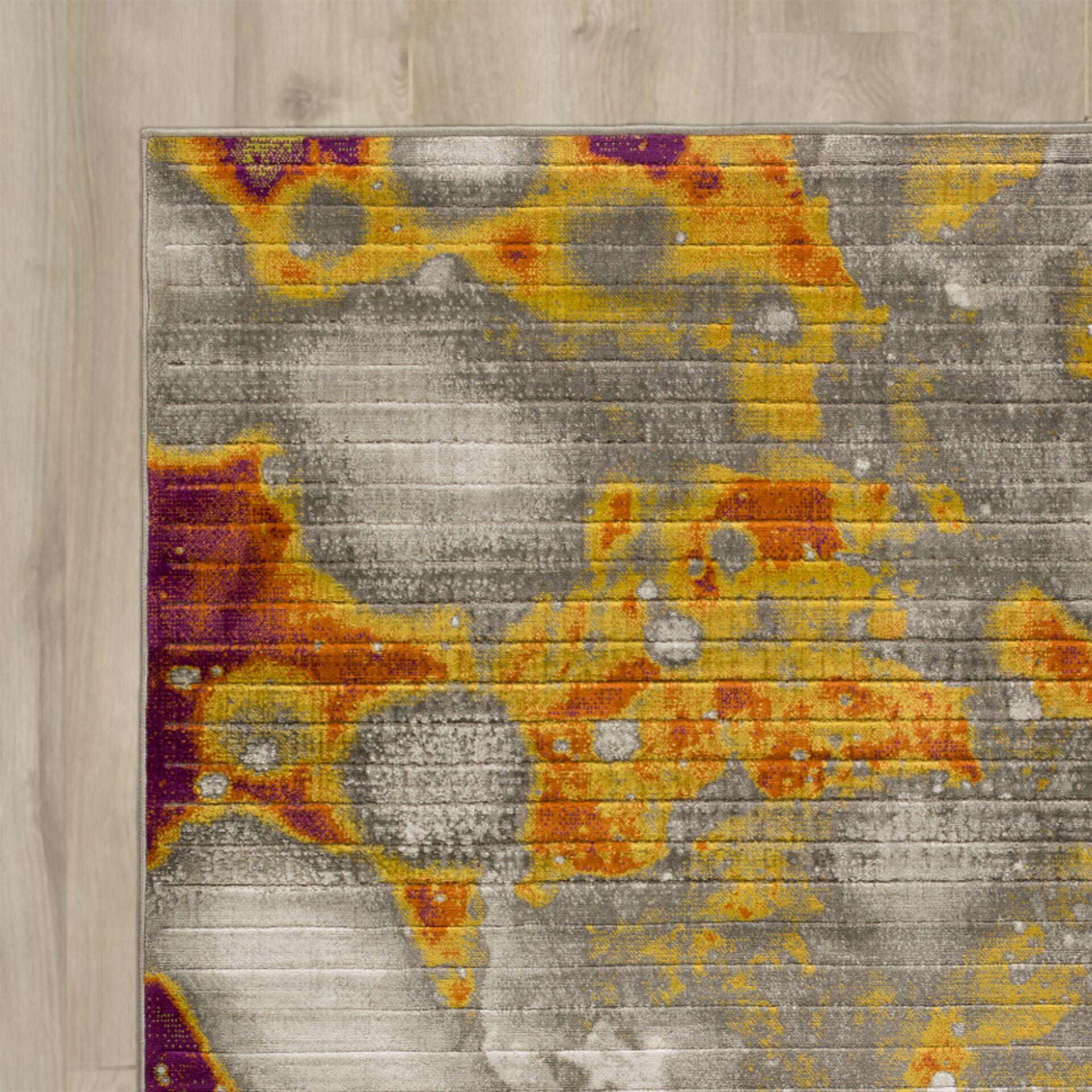 Chartwell Gray/Orange Area Rug Rug Size: Rectangle 7'6