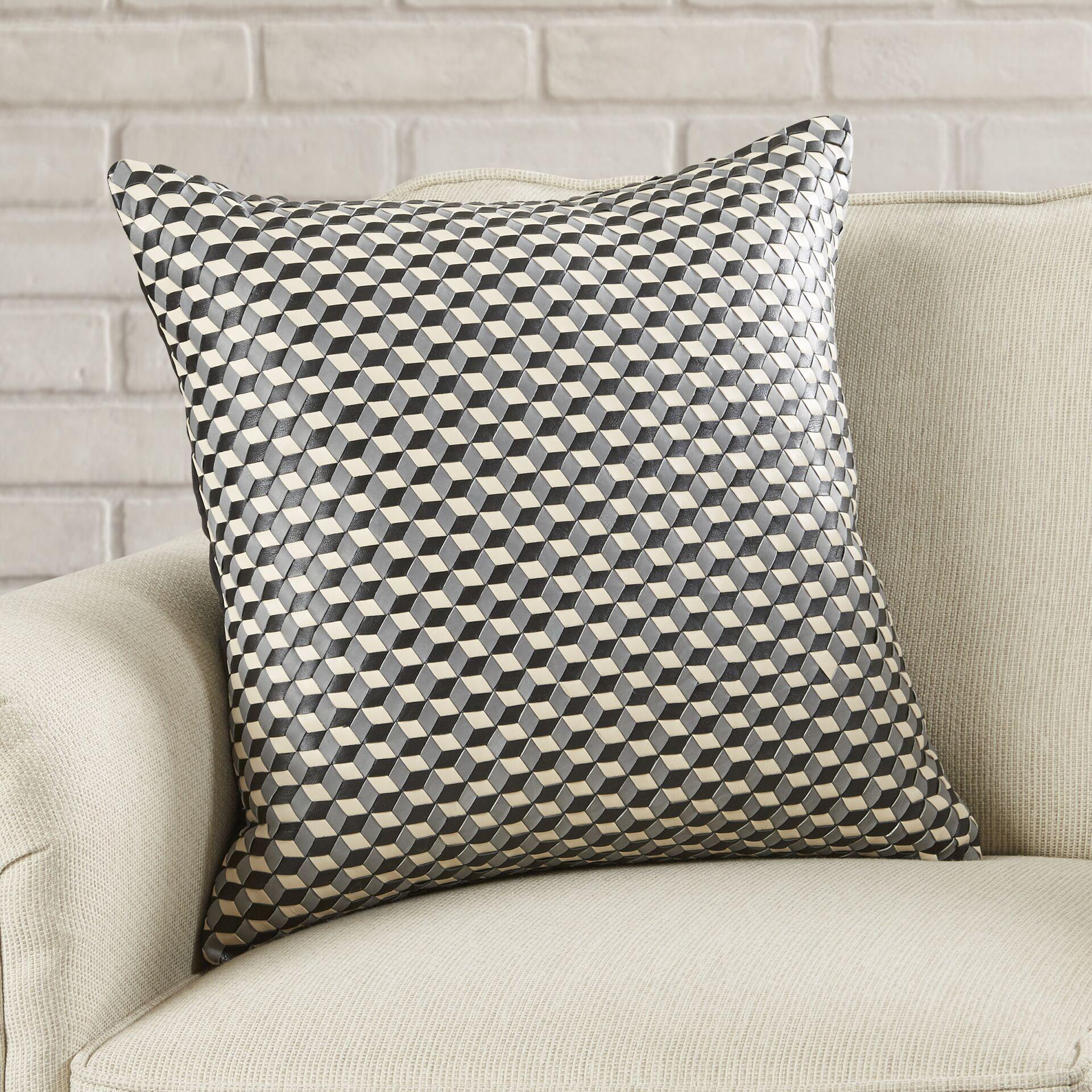 Kadence Woven Cubes Leather Throw Pillow