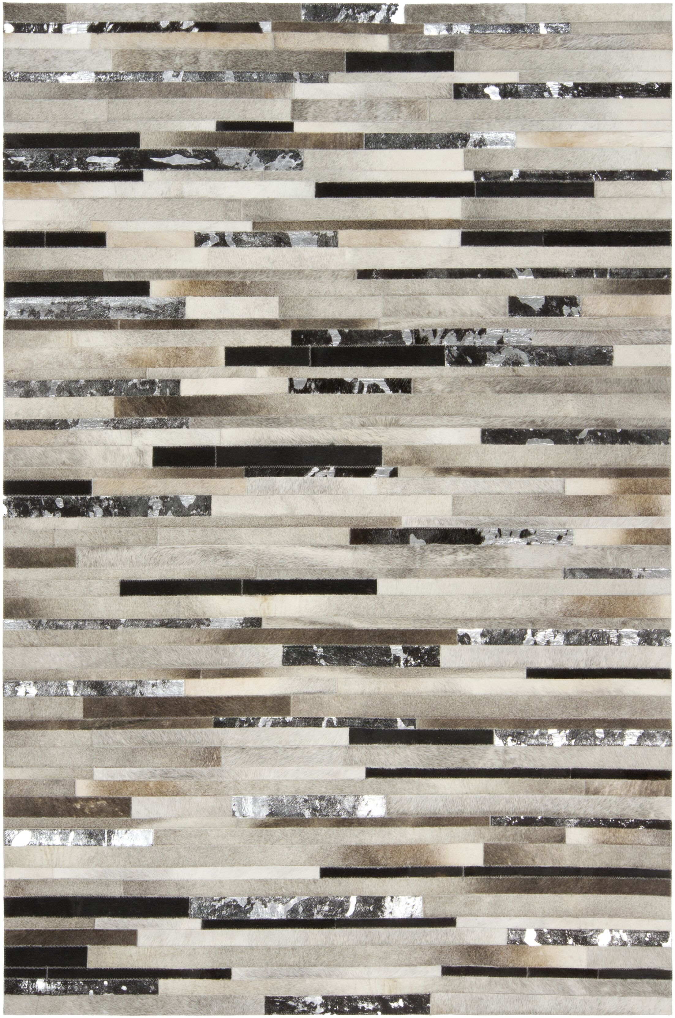 Losey Hand Woven Cowhide Gray Area Rug Rug Size: Rectangle 8' x 10'