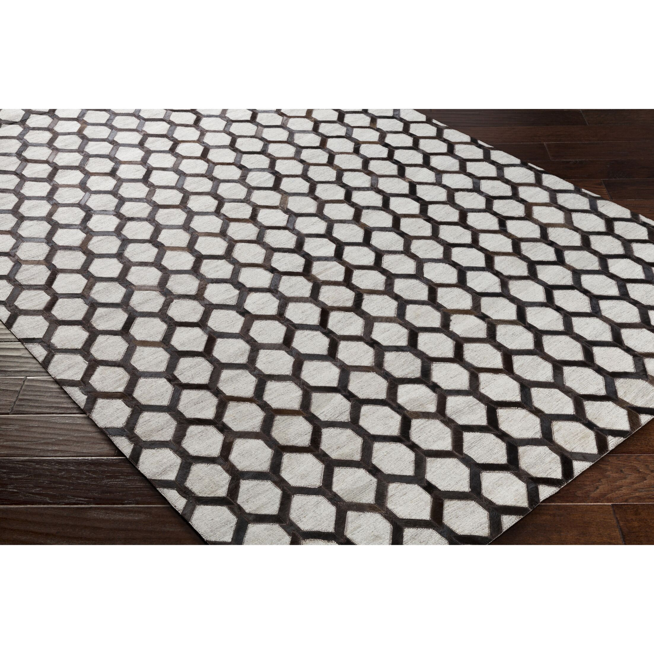 Rexburg Hand-Crafted Black/Brown Indoor Area Rug Rug Size: 5' x 7'6