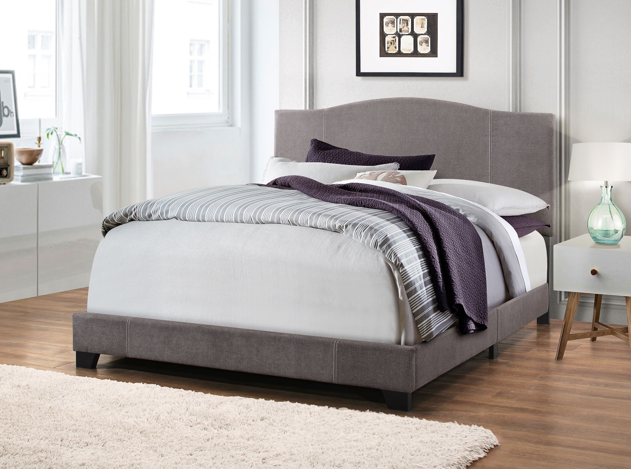 Black Mesa Modified Camel Back Upholstered Panel Bed Size: Queen, Color: Denim Vintage