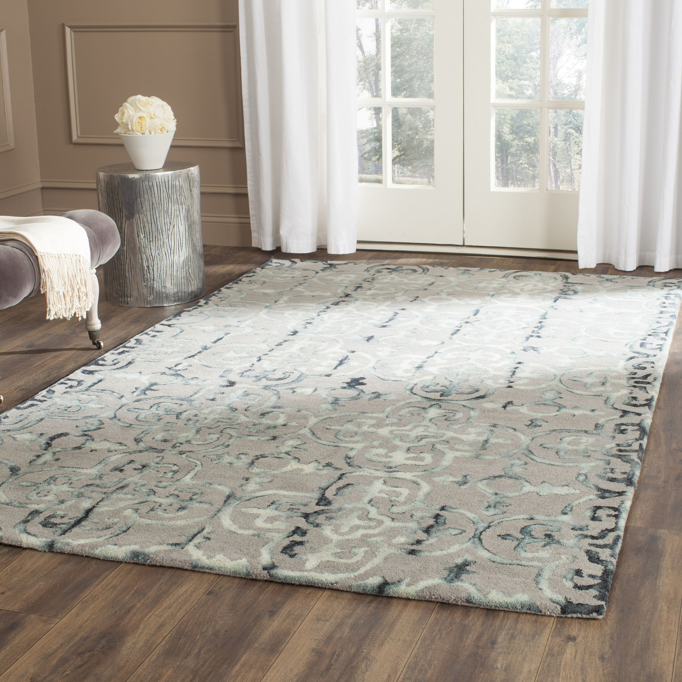 Kinder Hand-Tufted Gray/Charcoal Area Rug Rug Size: Round 5'
