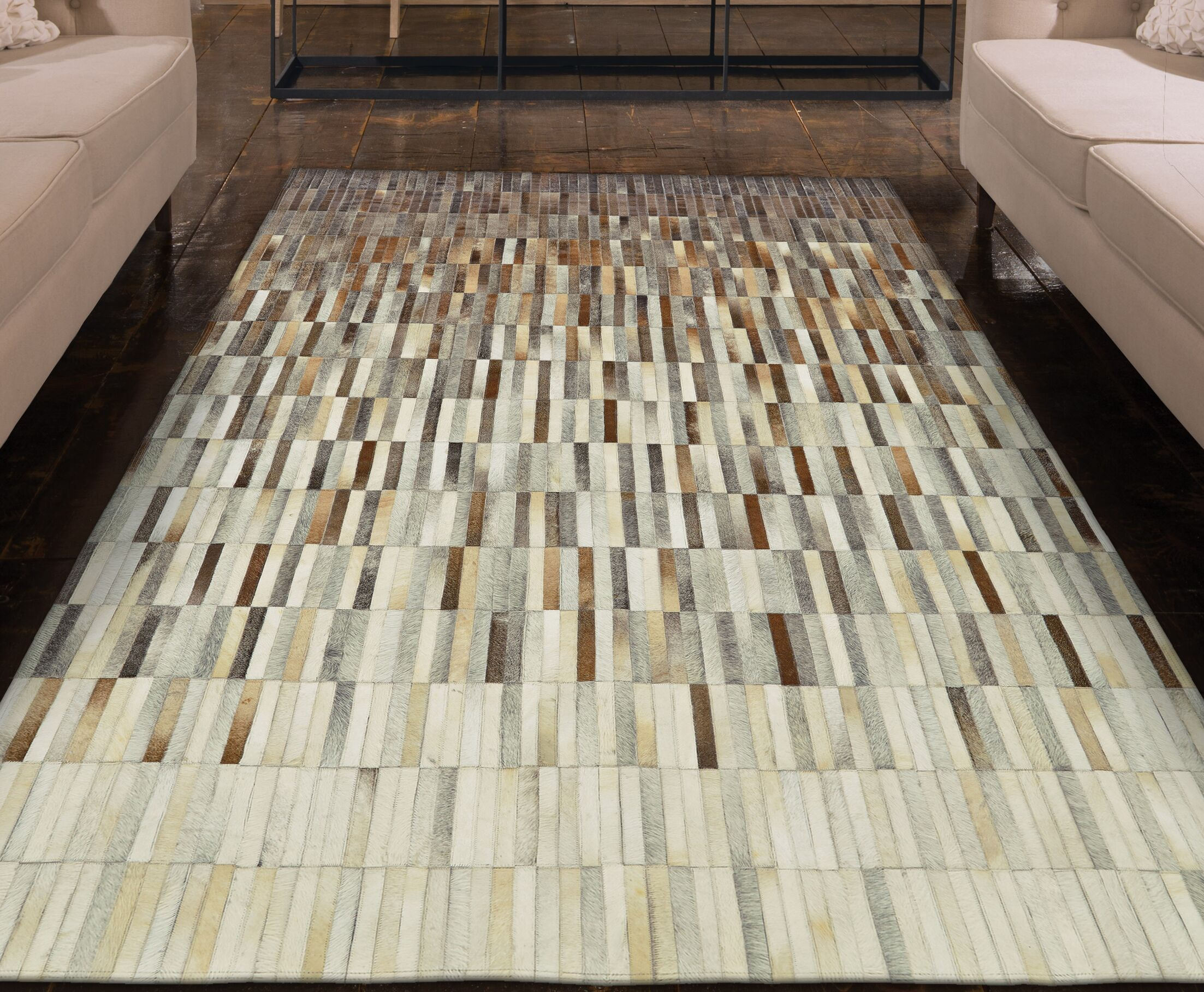 Alysa Hand-Stitched Brown/Gray Area Rug Rug Size: Rectangle 6' x 9'