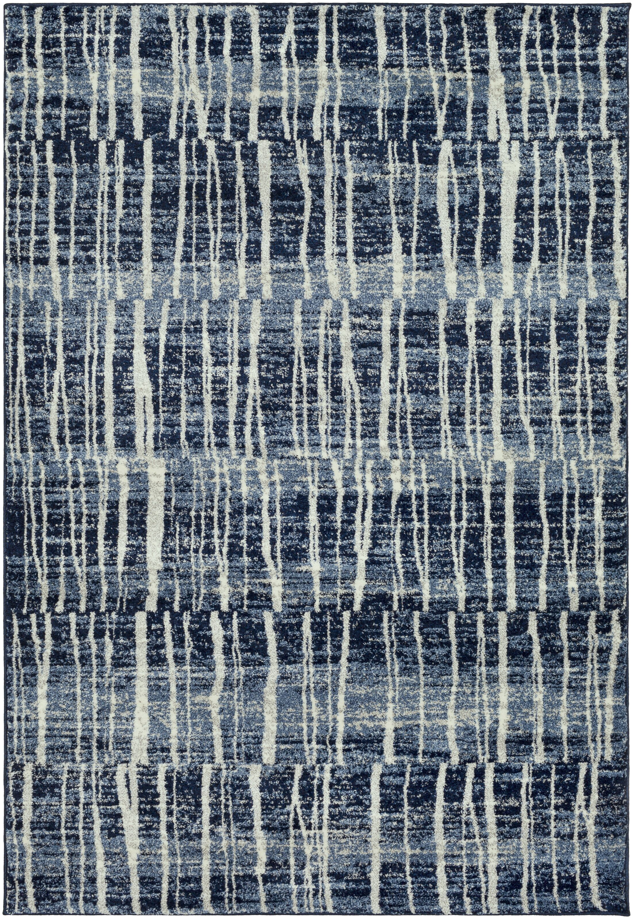 Kalyn Dark Blue/Bright Blue Area Rug Rug Size: 5'3