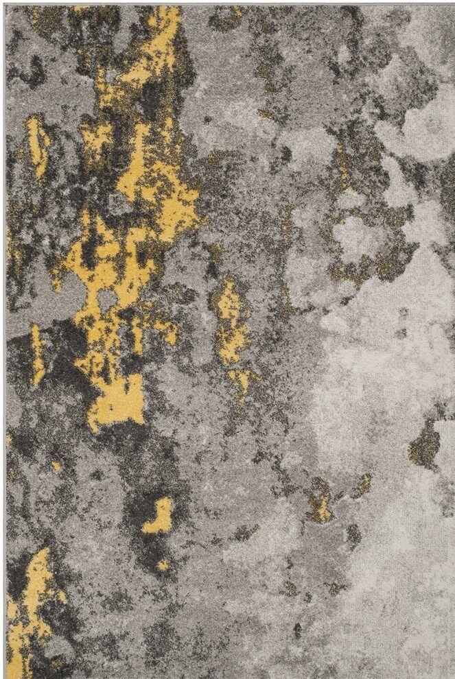 Costa Mesa Gray/Yellow Area Rug Rug Size: Square 8'