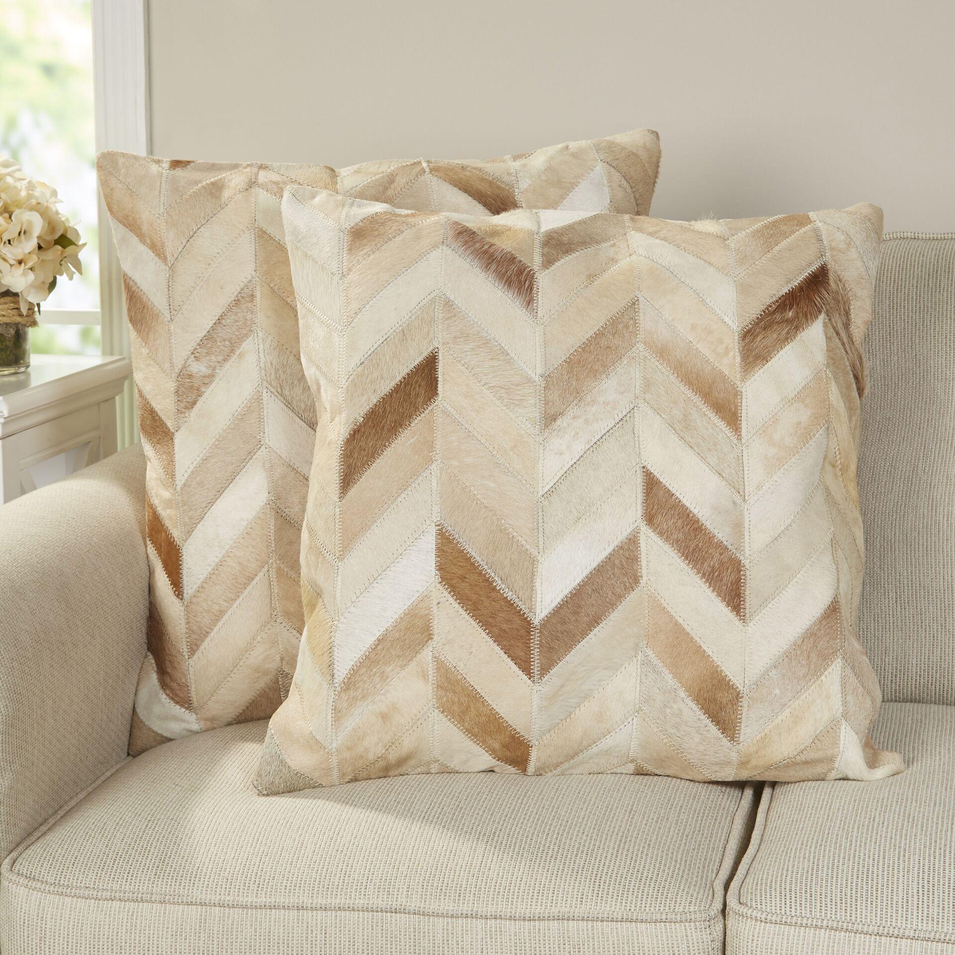 Altoona Throw Pillow Color: Multi  /  Tan, Size: 18