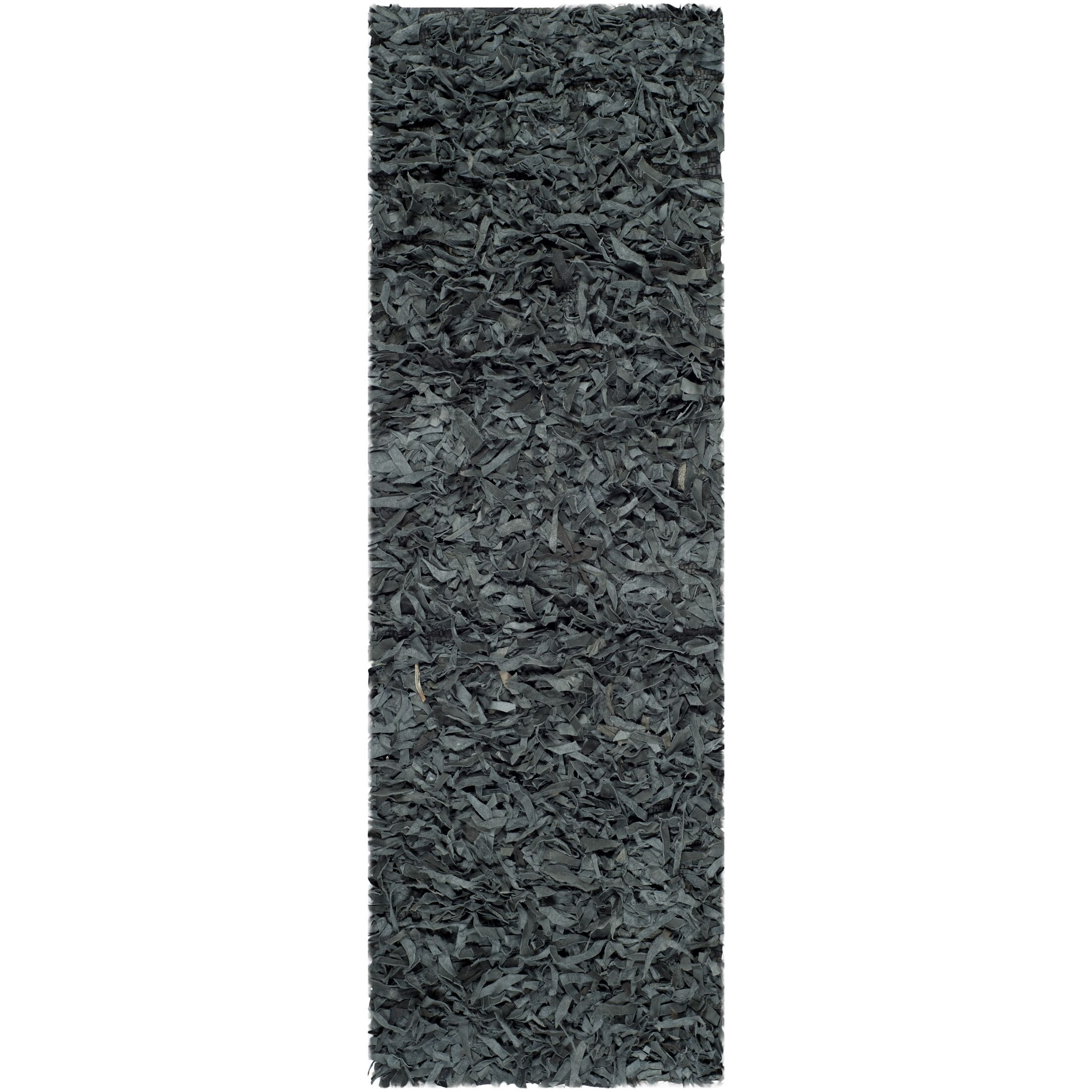 Carrol Leather Shag Grey Rug Rug Size: Runner 2'3
