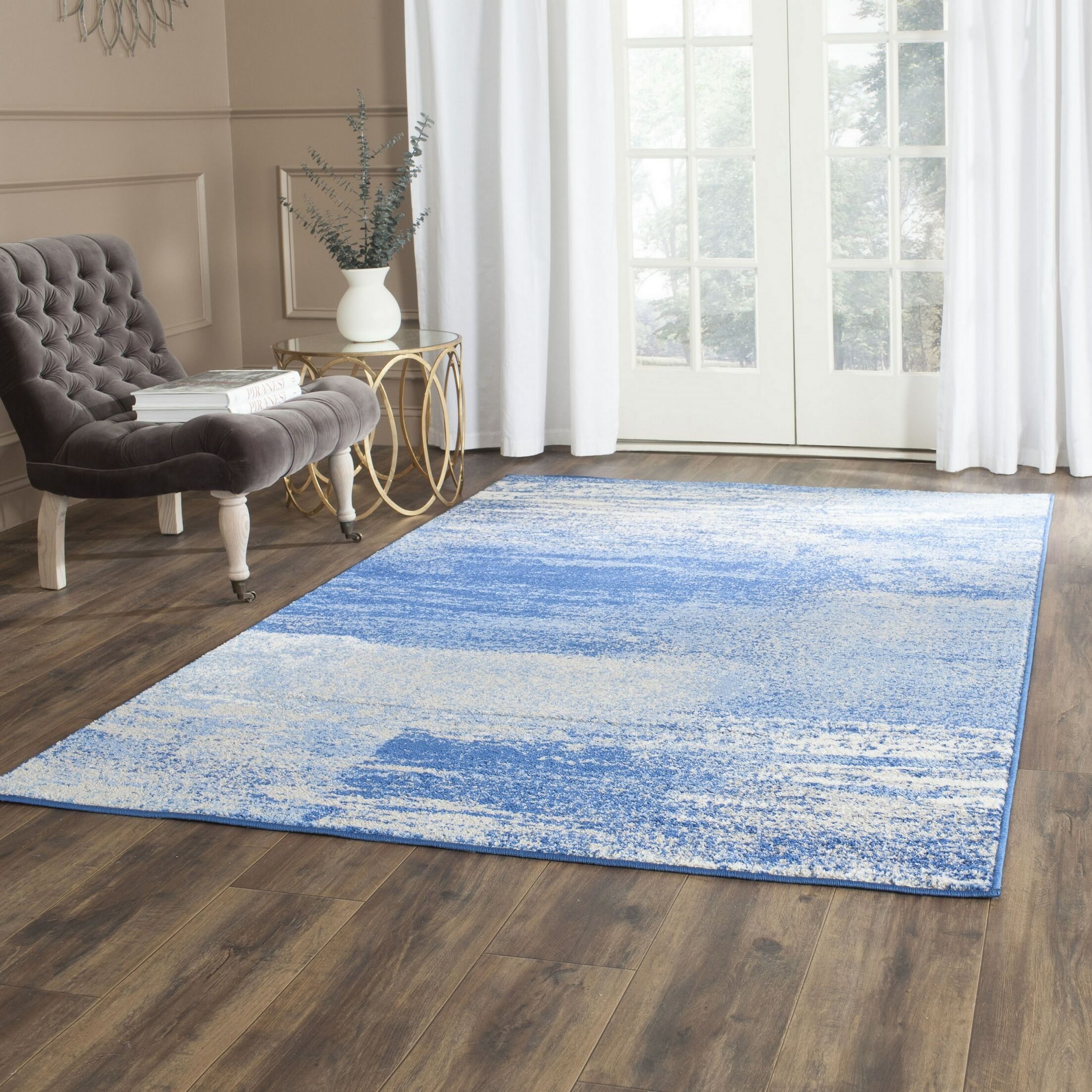 Costa Mesa Silver/Blue Area Rug Rug Size: Rectangle 12' X 18'