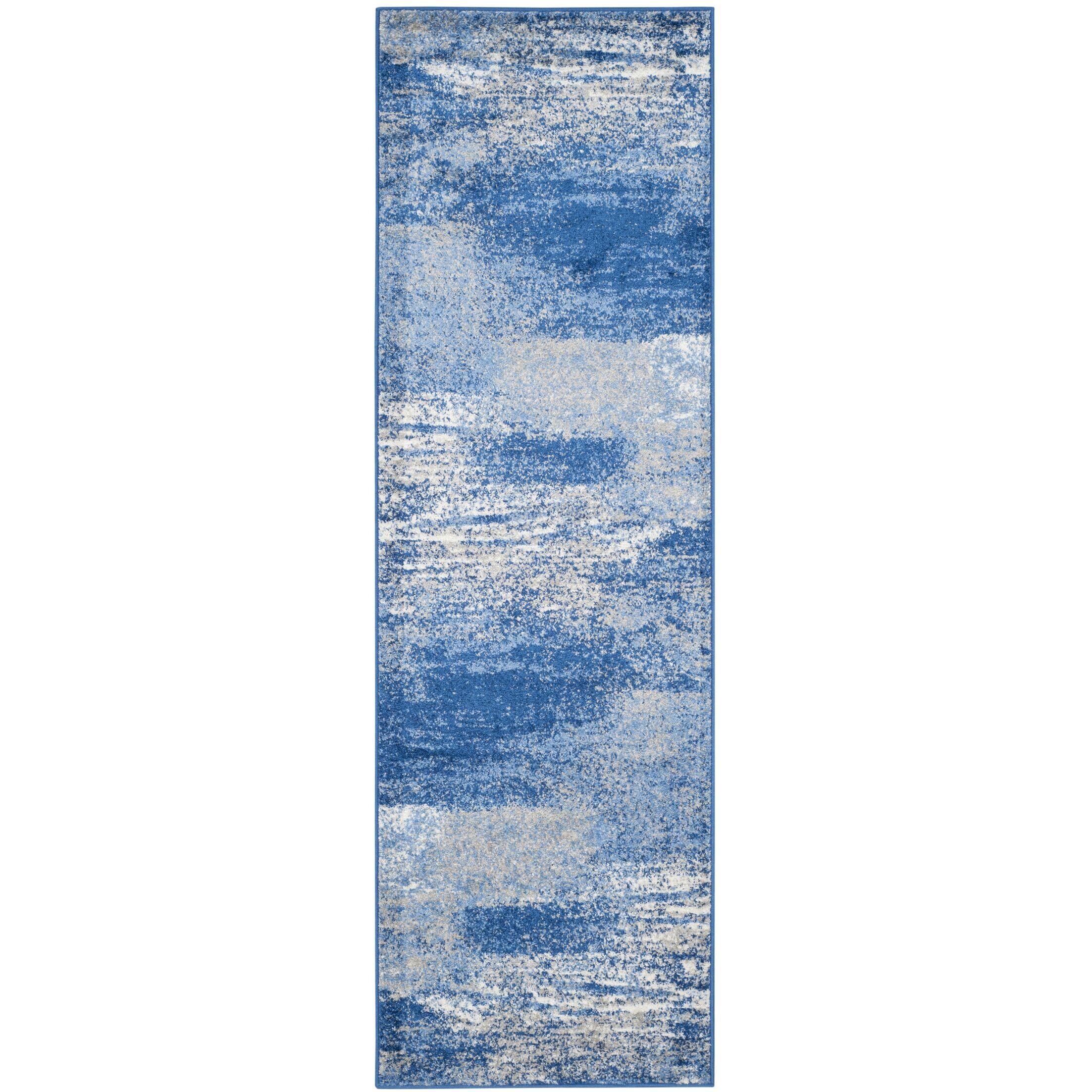Costa Mesa Silver/Blue Area Rug Rug Size: Runner 2'6