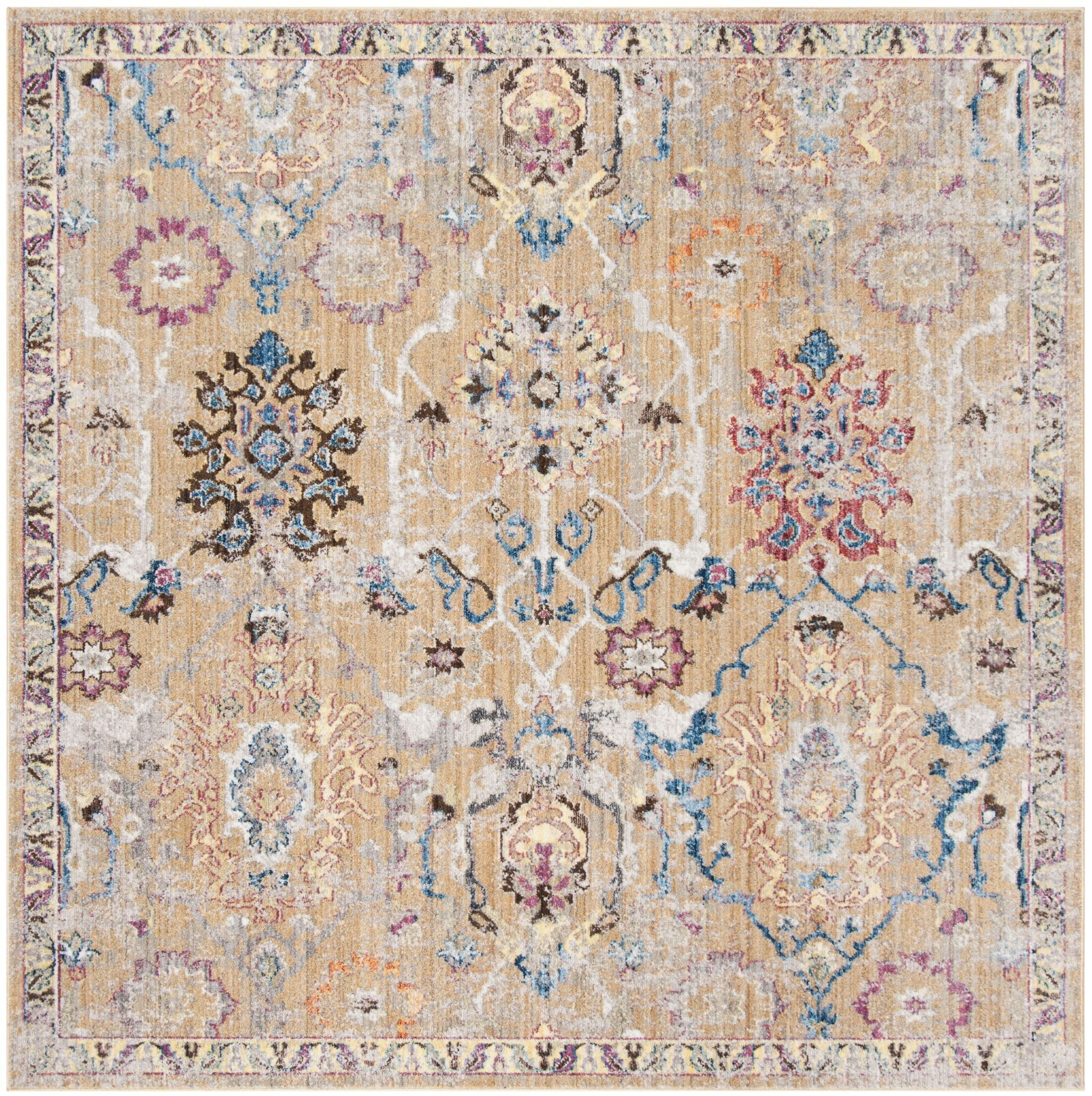 Hailey Camel/Blue Area Rug Rug Size: Rectangle 6' x 9'