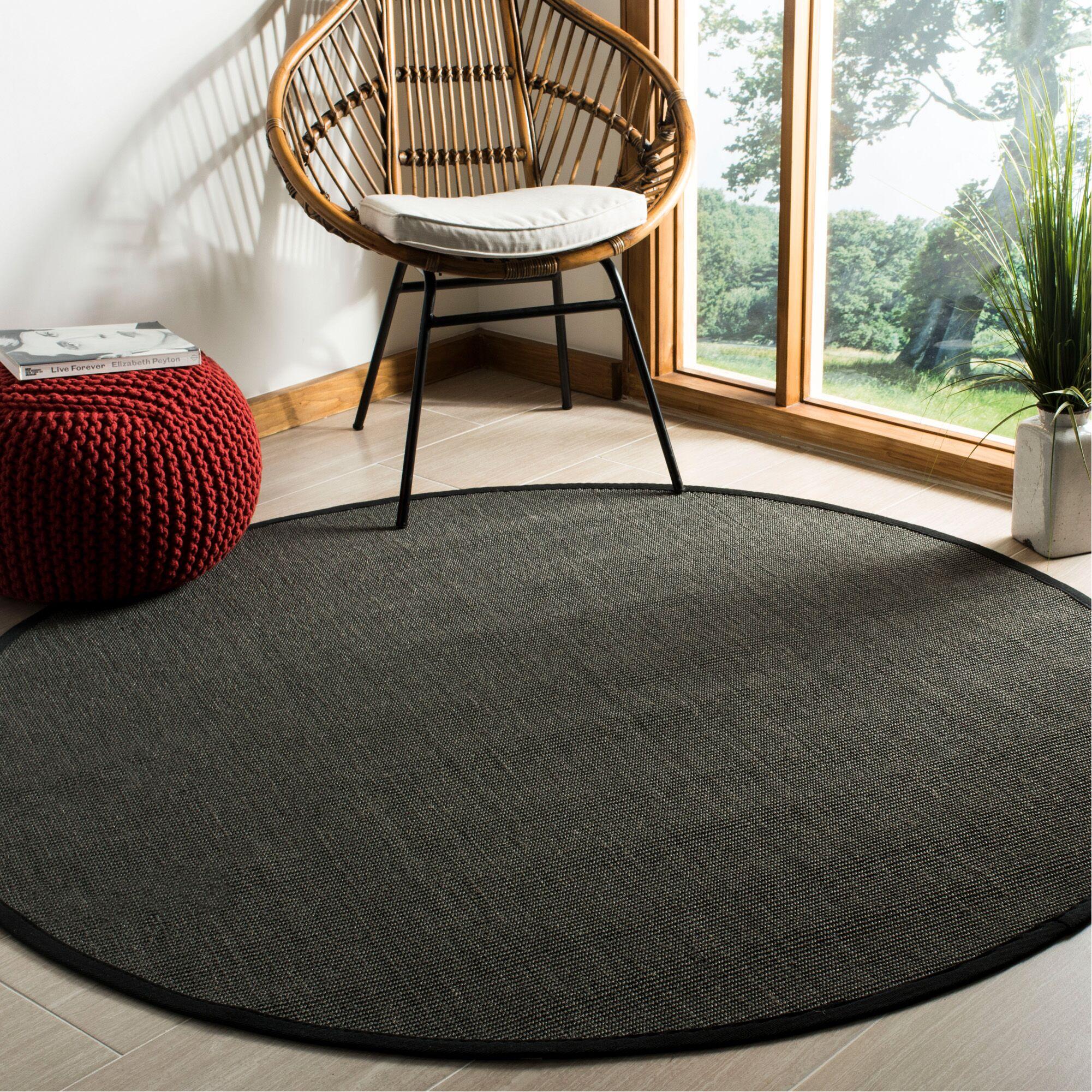 Wyckoff Black Area Rug Rug Size: Round 6'