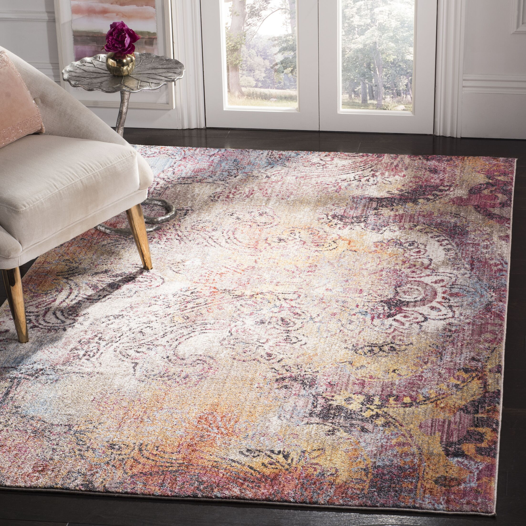 Foresta Red/Yellow Area Rug Rug Size: Rectangle 5'1