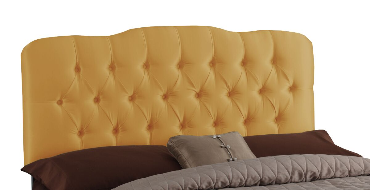 Davina Shantung Arch Upholstered Panel Headboard Size: King, Color: Shantung Aztec Gold