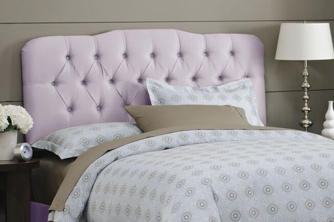 Davina Shantung Arch Upholstered Panel Headboard Size: California King, Color: Shantung Lilac