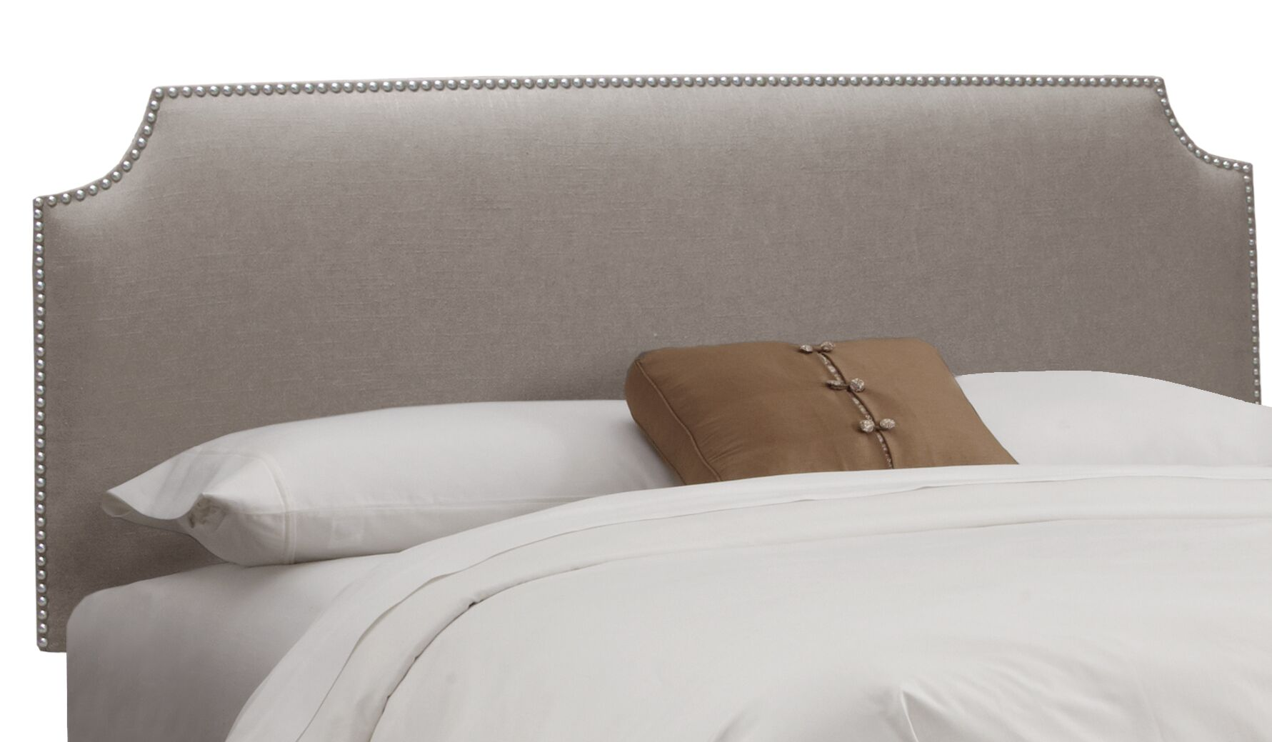 Doleman Nail Button Solid Wood Upholstered Panel Headboard Upholstery: Linen Grey, Size: Queen