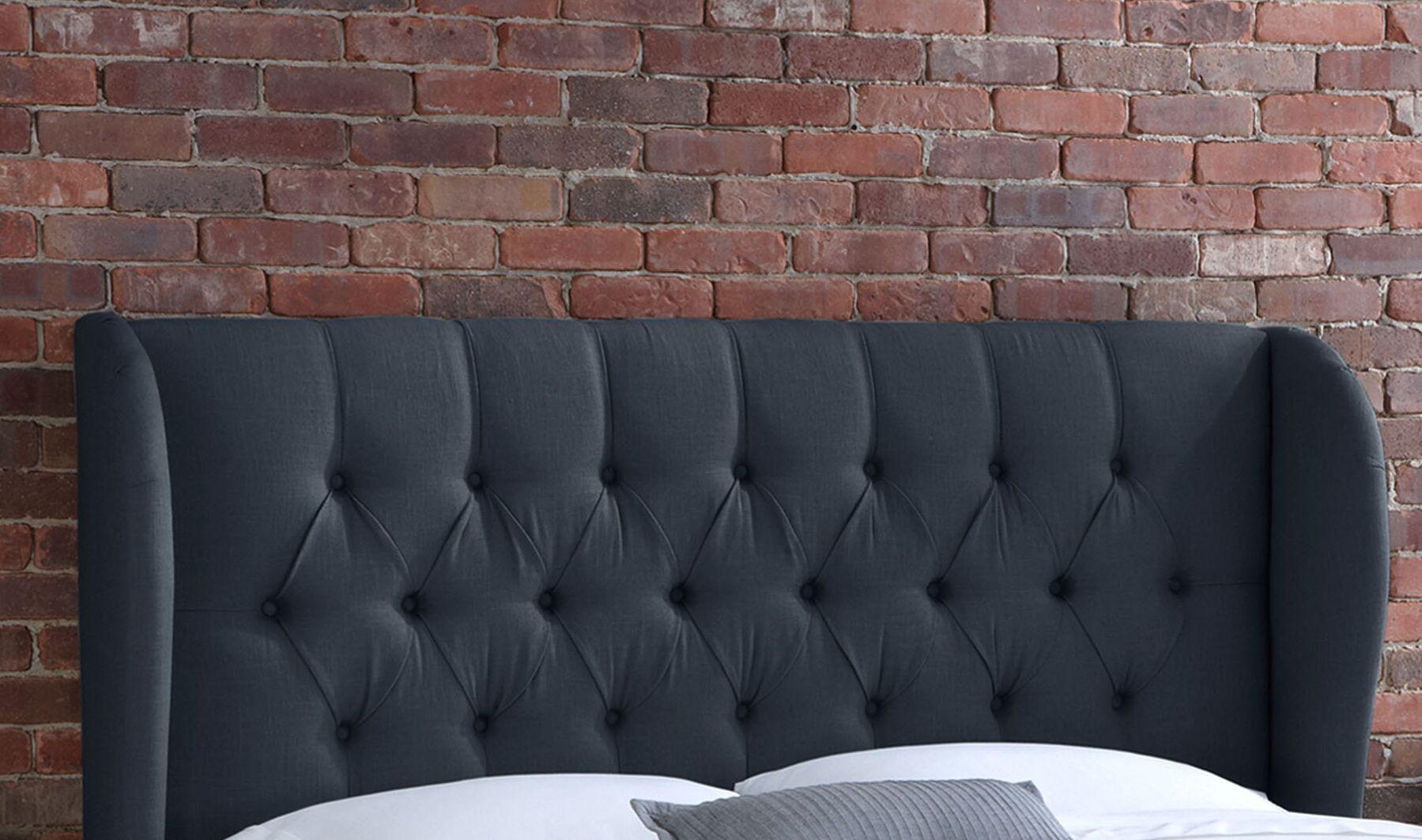 Stowmarket Tufted Diamond Upholstered Wingback Headboard Upholstery: Navy, Size: King