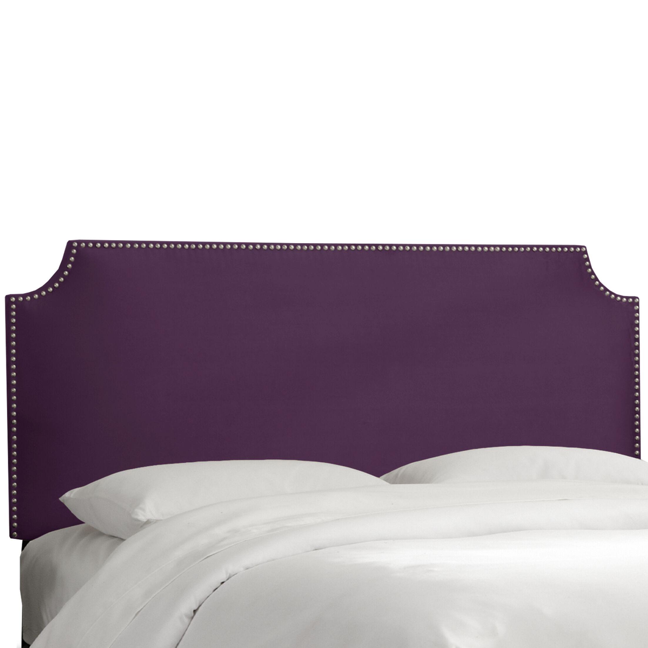 Alamak Velvet Notched Nail Button Upholstered Panel Headboard Size: California King, Upholstery: Velvet Aubergine