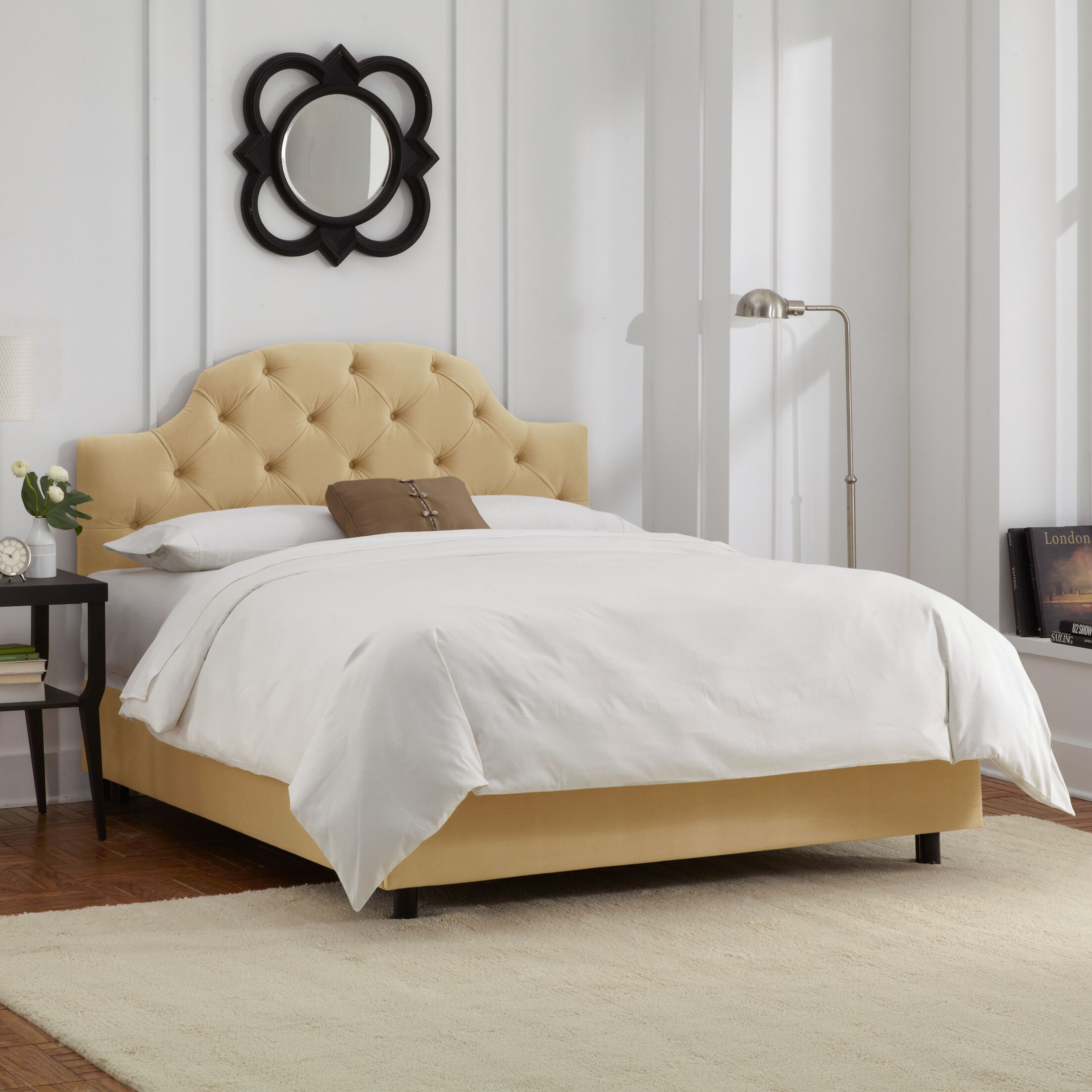 Enedina Upholstered Panel Bed with Mattress Color: Velvet - Buckwheat, Size: Twin