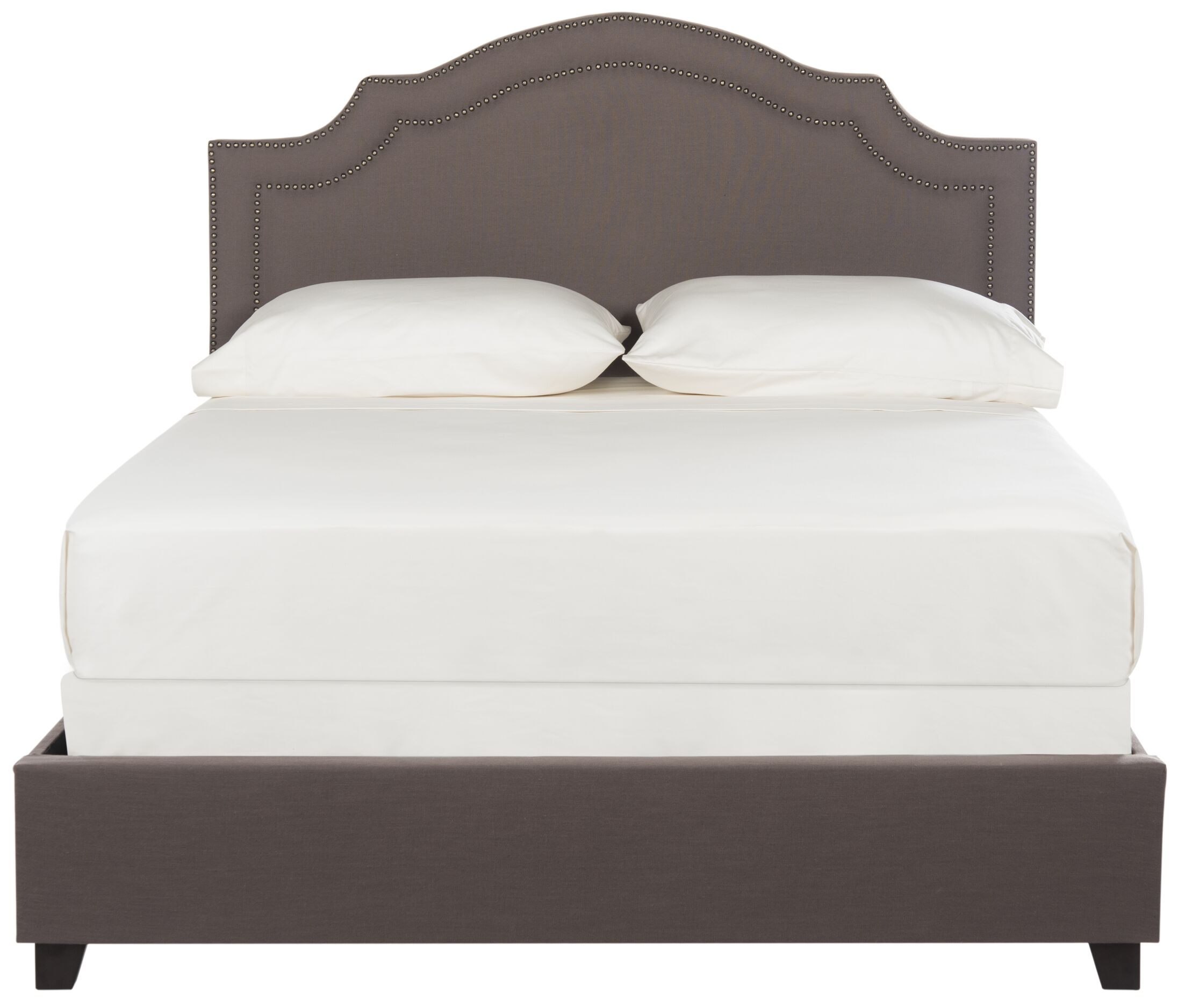 Avanley Upholstered Panel Bed Size: Queen, Color (Upholstery/Nailhead): Dark Taupe/Brass