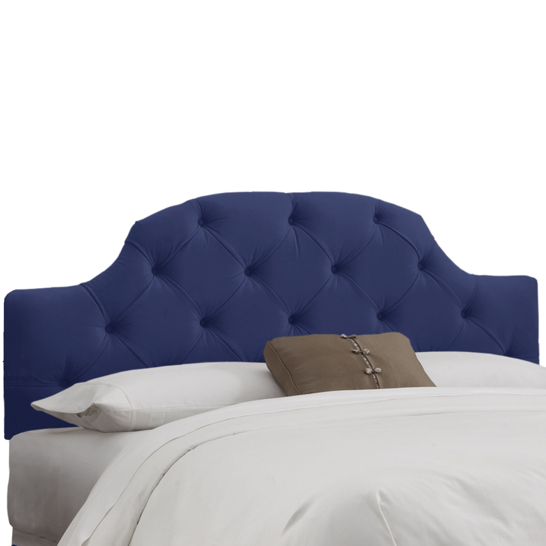Velvet Tufted Upholstered Panel Headboard Upholstery: Velvet Navy, Size: King