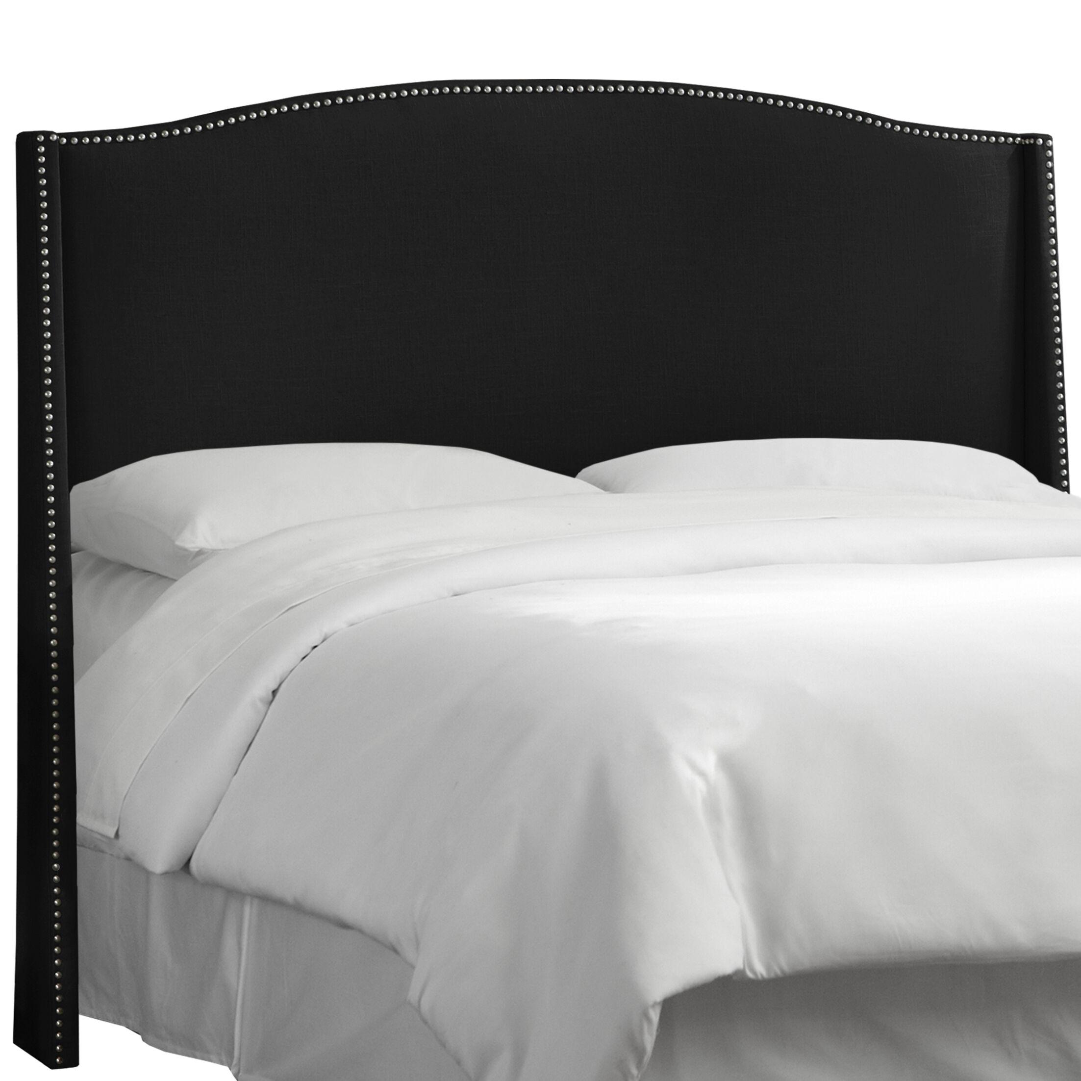 Deanery Linen Nail Button Upholstered Wingback Headboard Upholstery: Linen Black, Size: California King