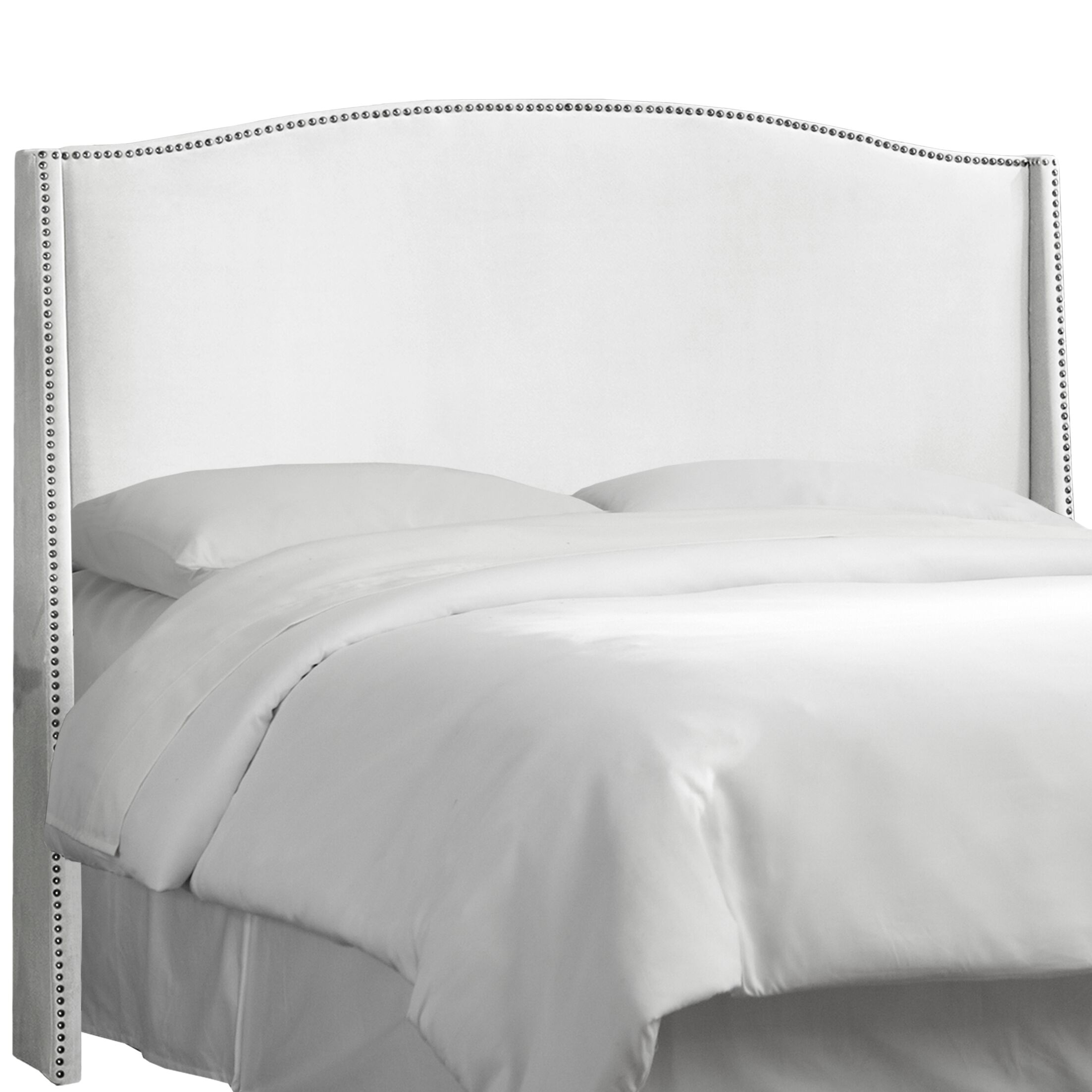 Dowland Nail Button Upholstered Wingback Headboard Upholstery: Premier White, Size: King