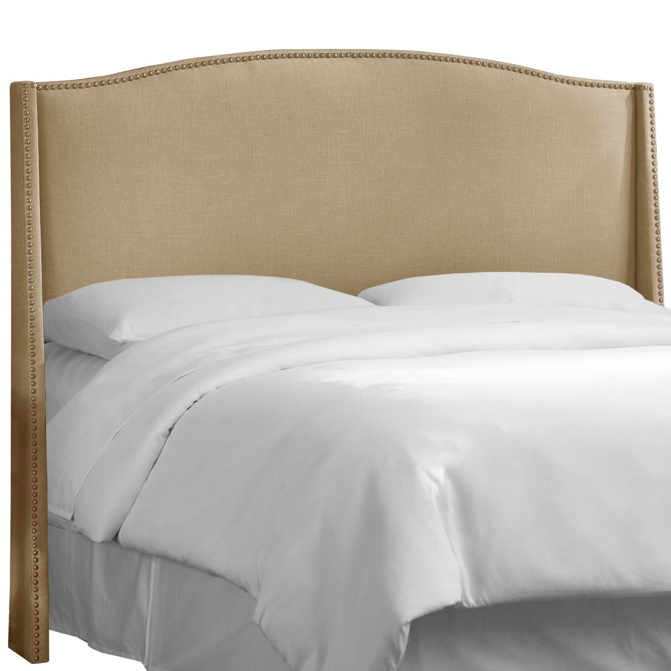 Deanery Linen Nail Button Upholstered Wingback Headboard Upholstery: Linen Sandstone, Size: California King