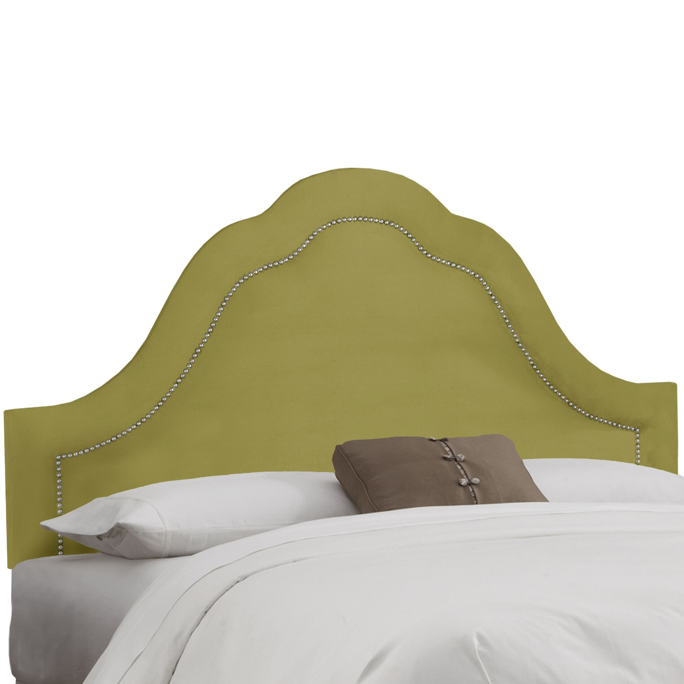 Premier Inset Nail Button Arch Upholstered Panel Headboard Color: Sage, Size: Twin