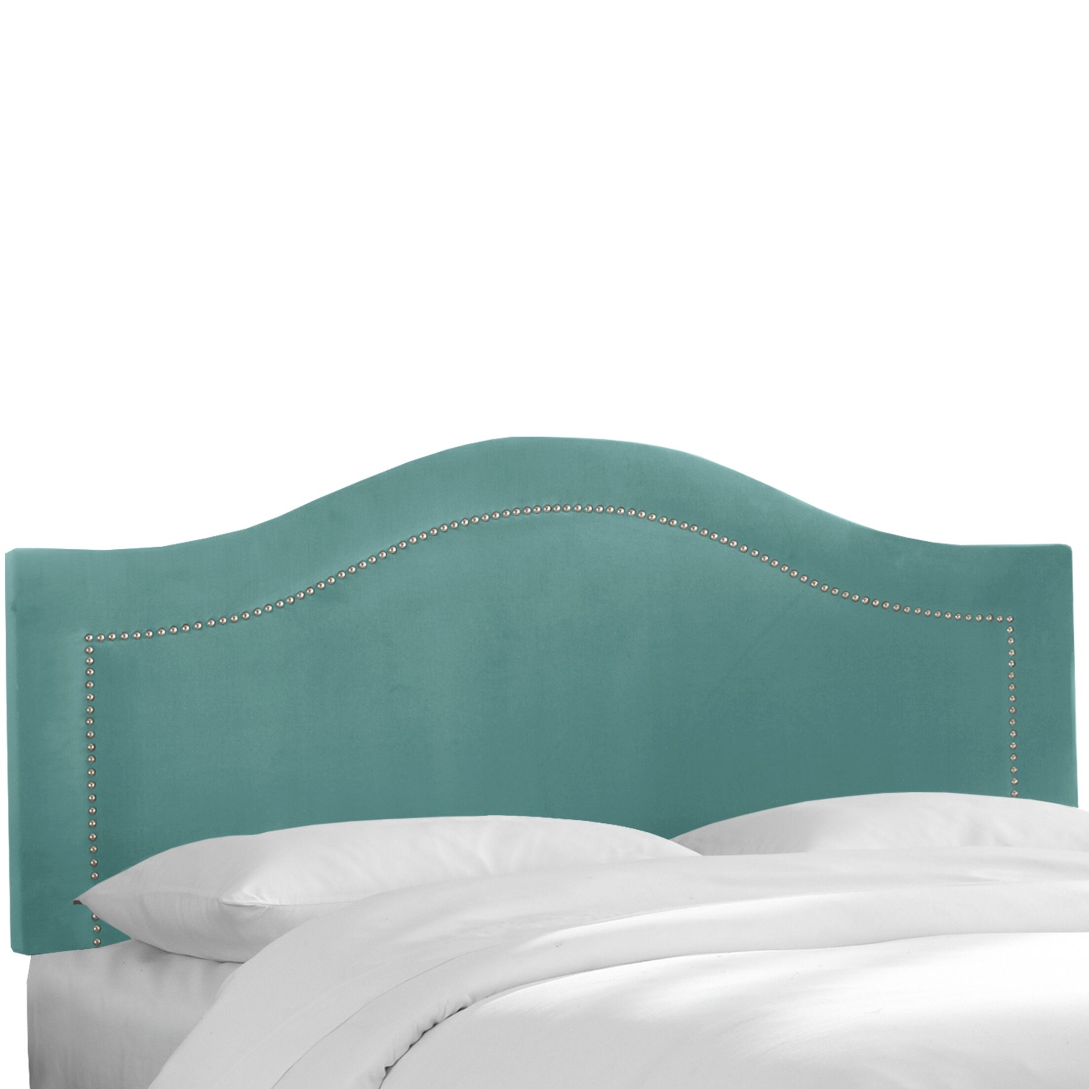 Alaraph Velvet Inset Nail Button Upholstered Panel Headboard Size: Queen, Upholstery: Caribbean